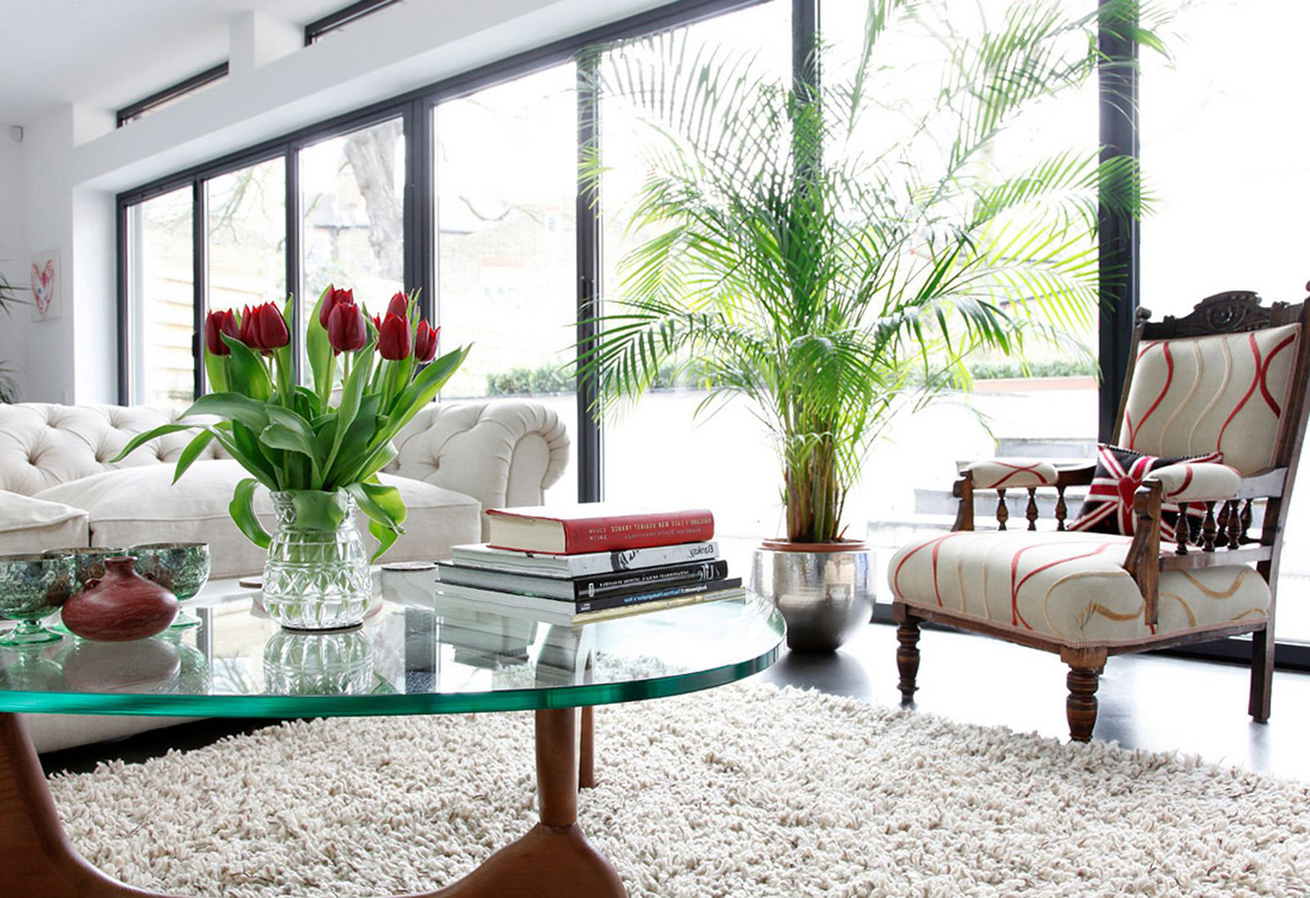 Apartments Decor Of Simple White Sofa Rug With Glass Table With Wall With Indoor Plant (Image 35 of 45)