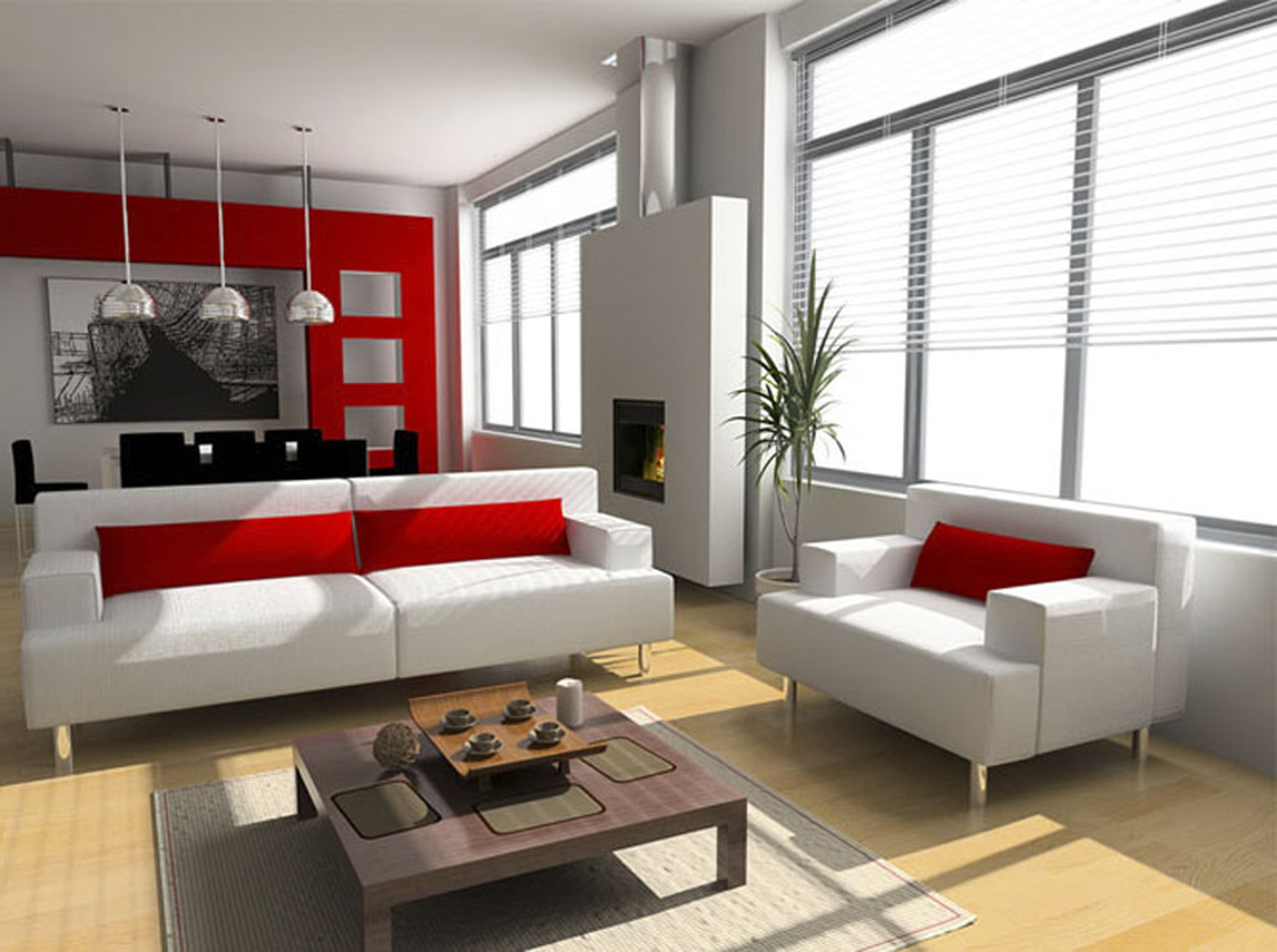 Apartments Living Room Interior Design With Red White Scheme (Image 39 of 45)