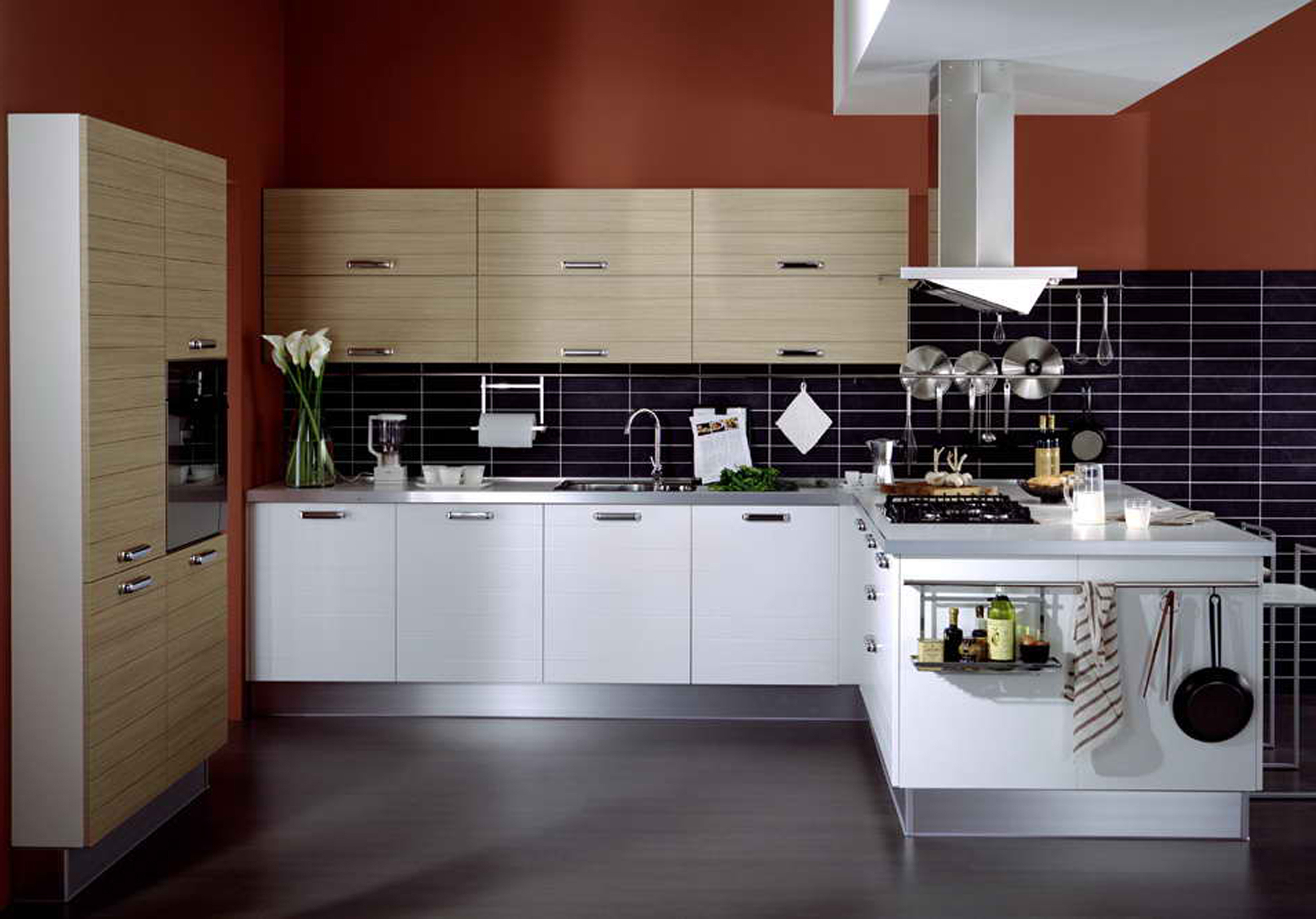Arrangement For Elegant White Contemporary Kitchen Design Cabinet Colors (View 16 of 39)