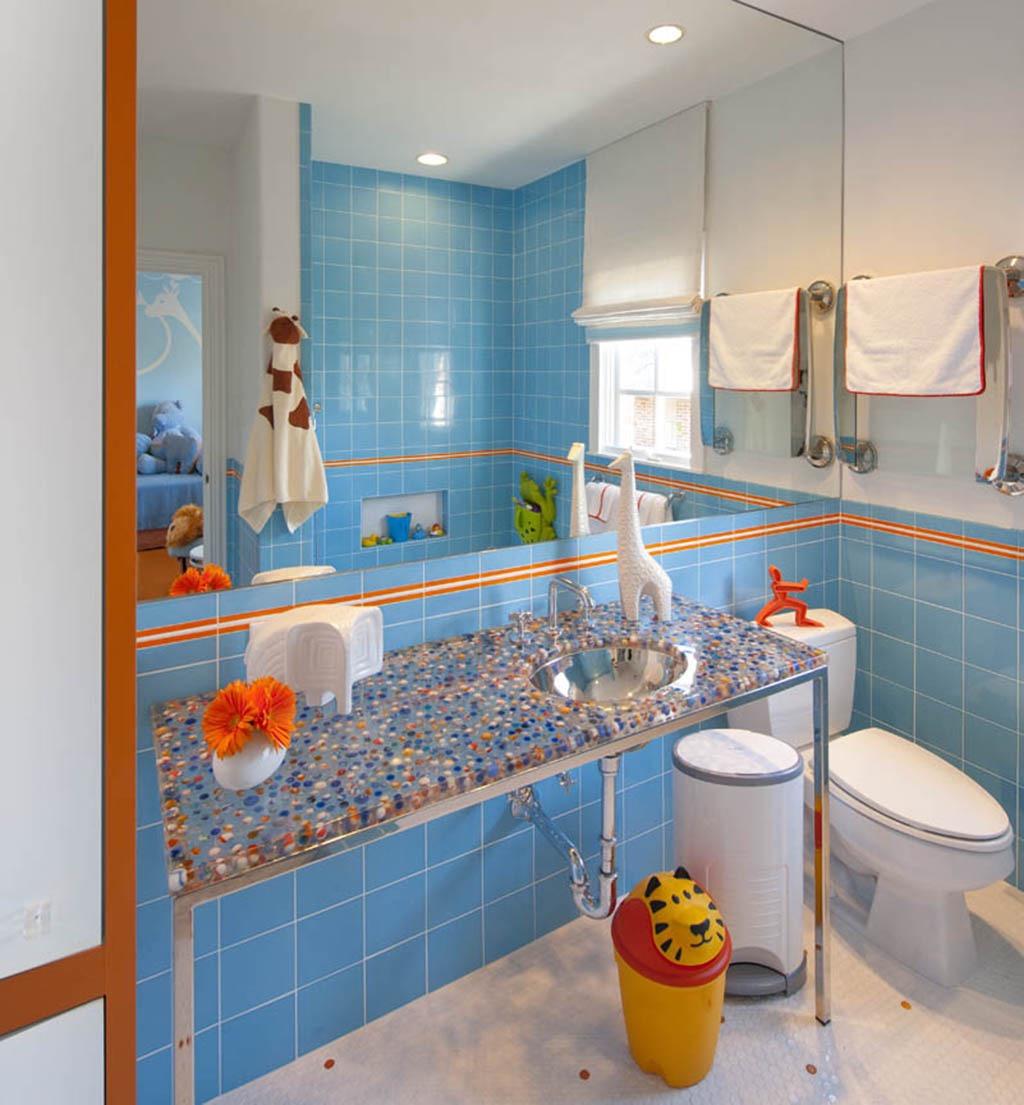 Bright Blue Contemporary Kids Bathroom (Image 2 of 15)