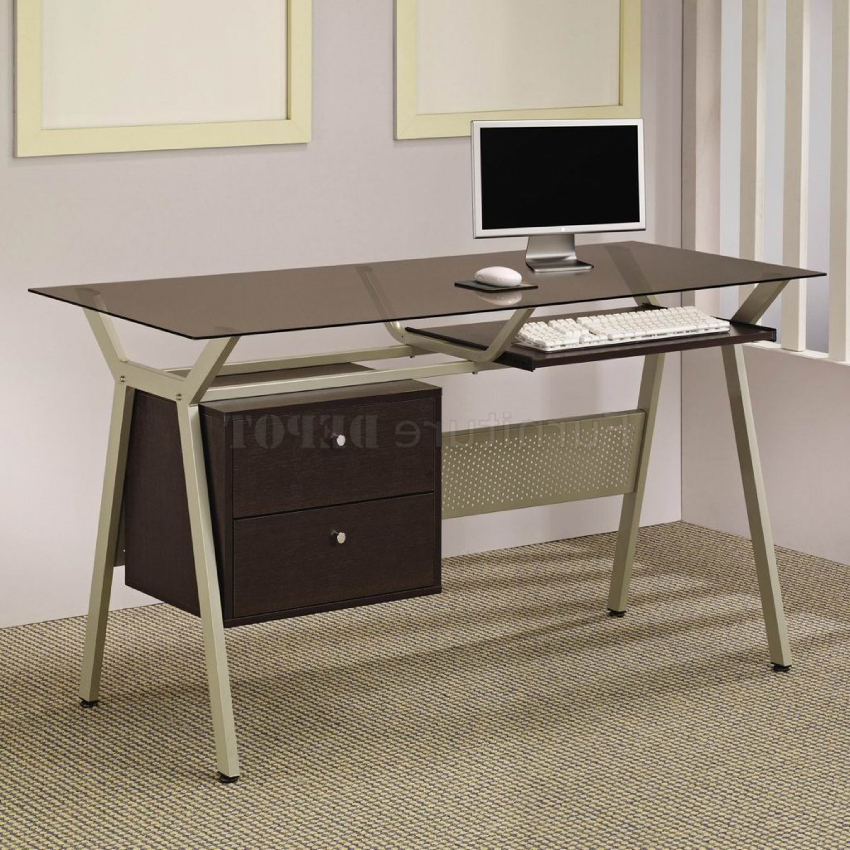 Charming Modern Home Office Desk Design Idea In Brown With White Base White Computer And Brown Floor Fabulous Modern Home Office Desk Design Ideas (View 27 of 30)