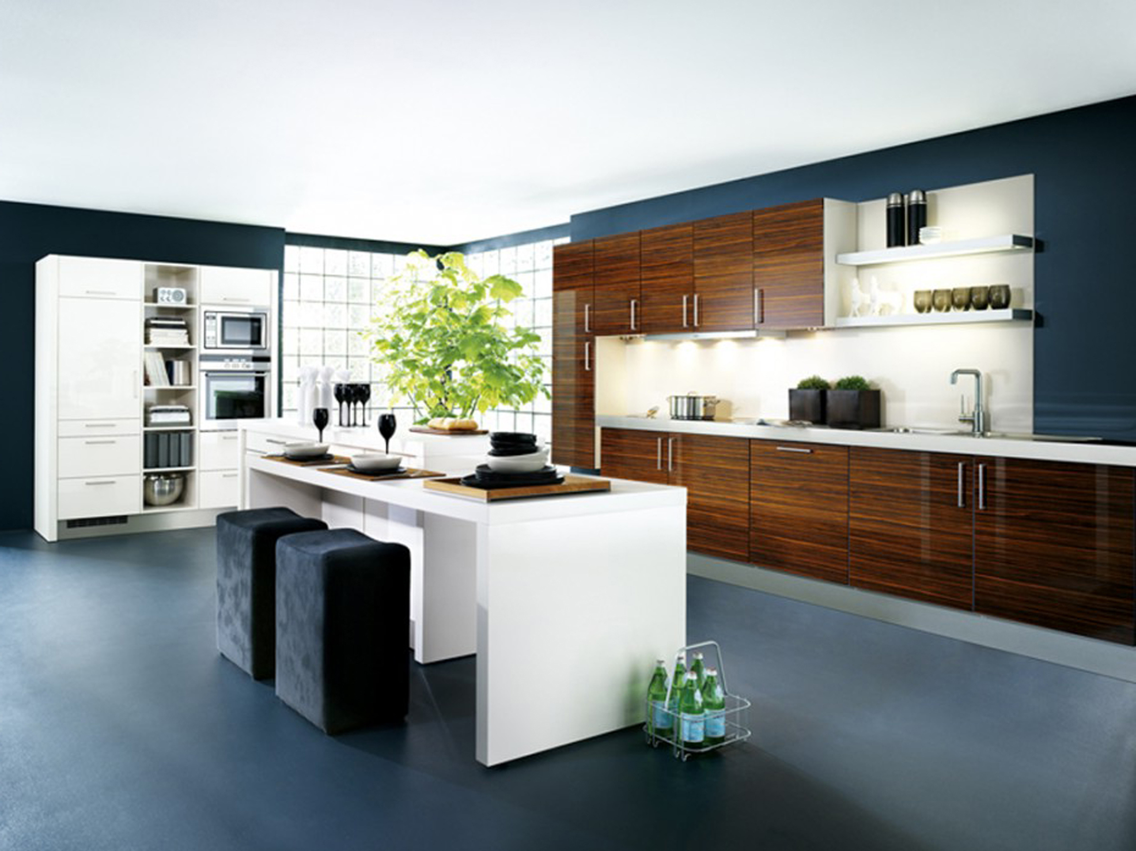 Concept For Contemporary Modern Kitchen Cabinets Blue Floor Wooden Design Ideas (View 18 of 39)