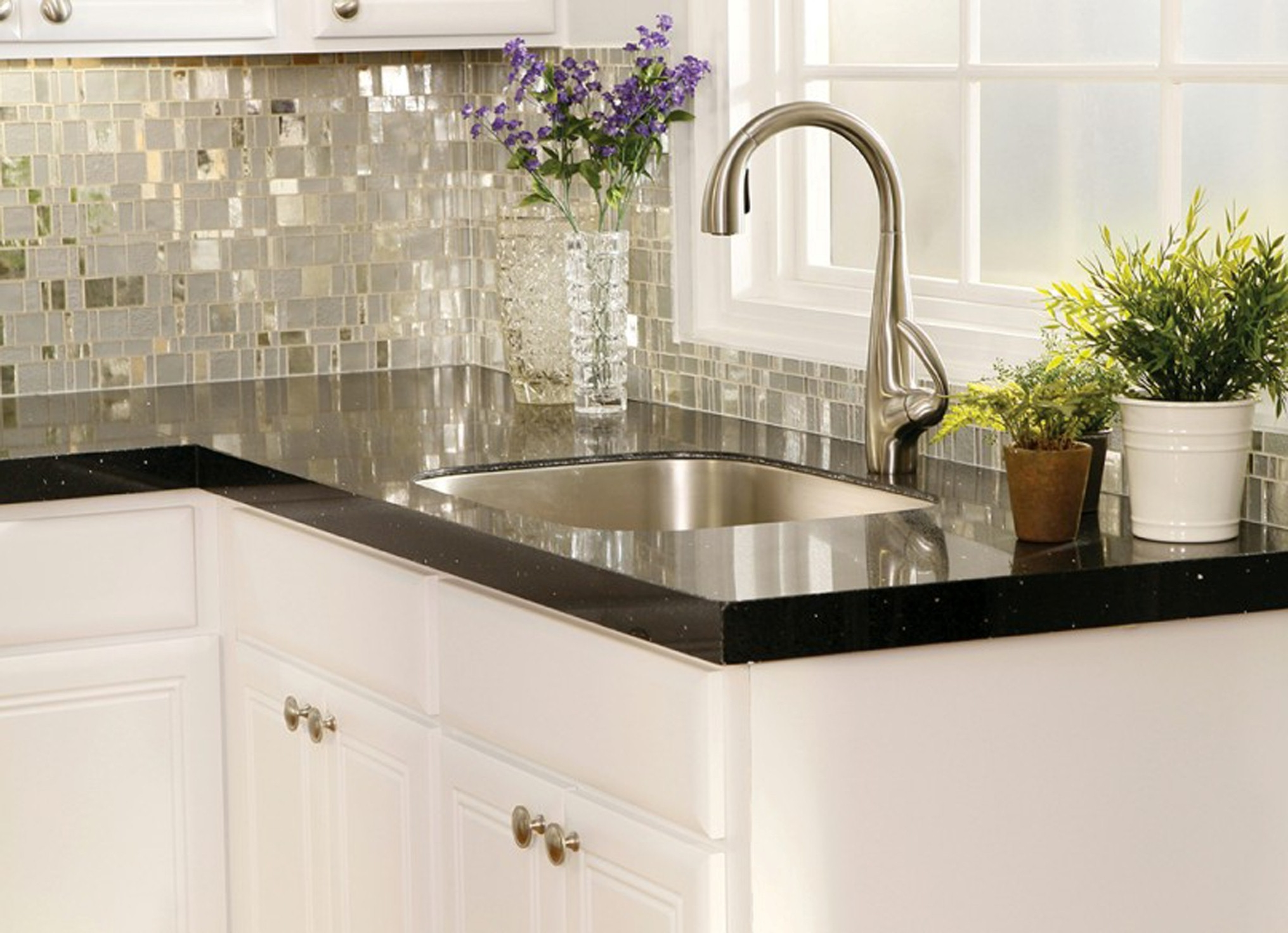 Contemporary Kitchen Countertops Material With Dark Marble Over The White Natty Cabinet Also With Huge Faucet Island Sink Awesome Counterops For Kitchens Options (View 20 of 39)