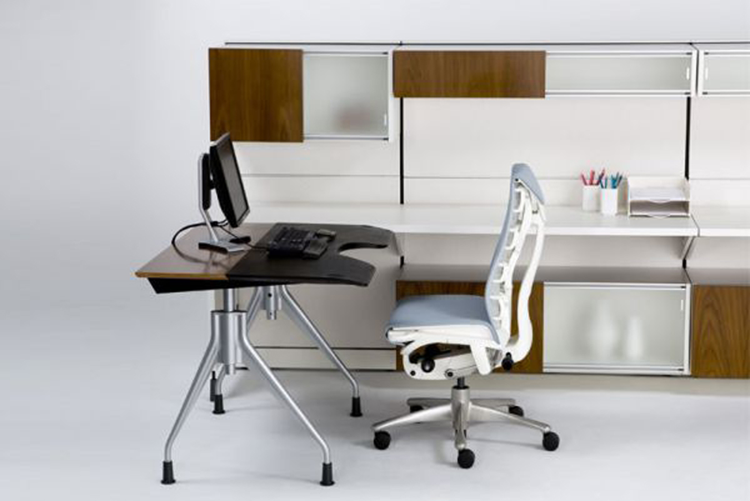 Cozy Modern Office Furniture Design Idea With Brown Black Table With Silver Base White Chair And Brown Cabinet Alluring Modern Office Furniture Design Ideas (View 29 of 30)