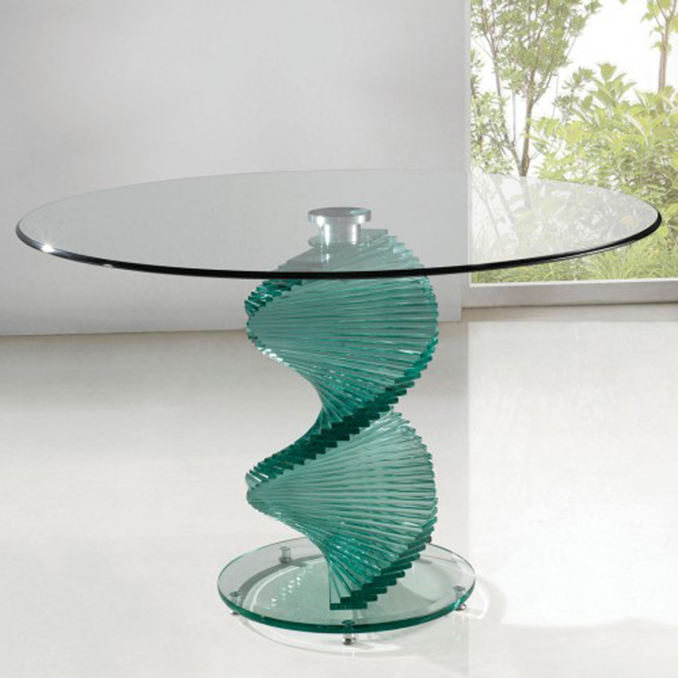 Dining Room Furniture Sets Of Modern Round Top Glass For Dining Table Set With Unique Green Glass Spiral Table Leg Ideas (Image 8 of 28)