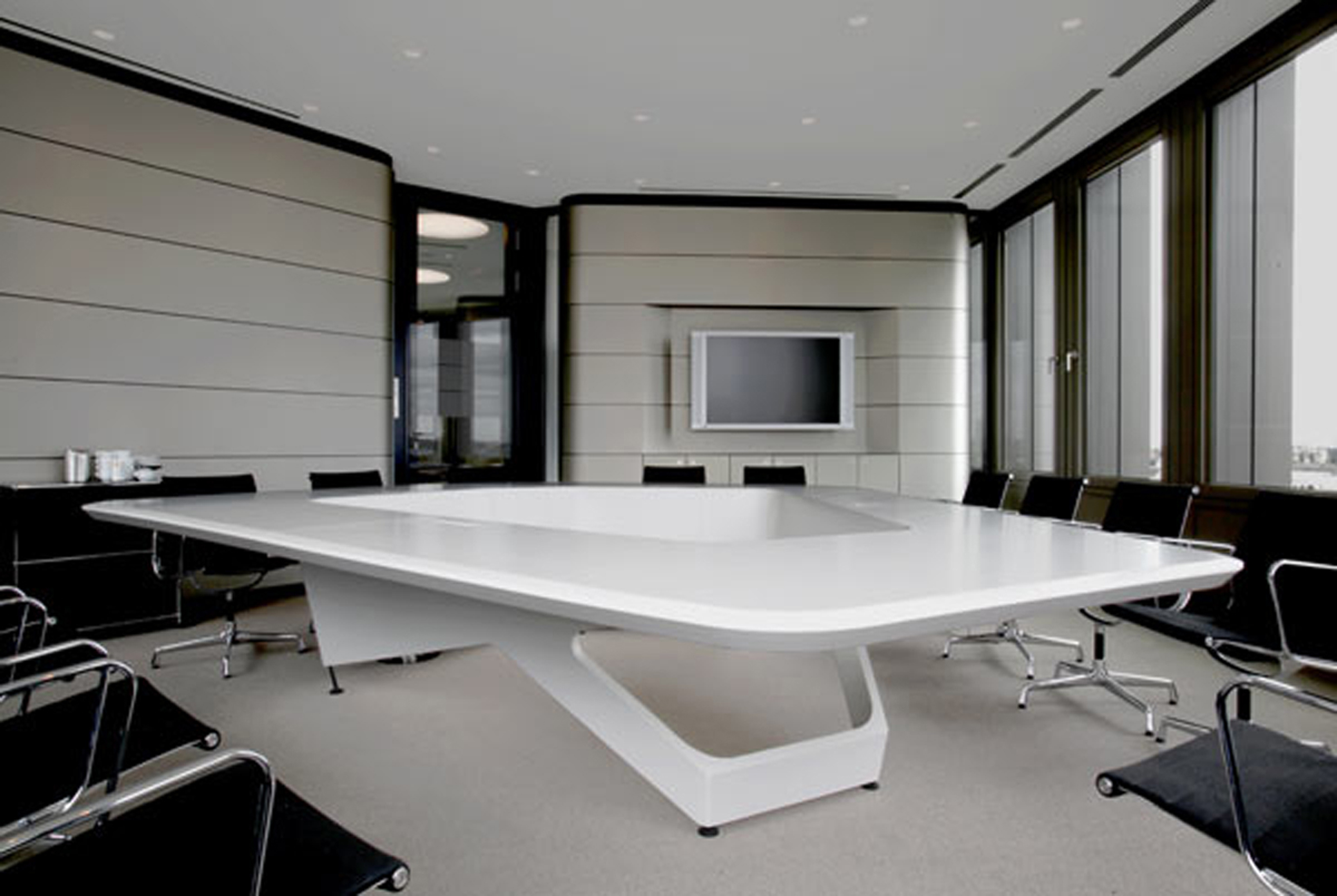 Elegant Modern Office Furniture Design Idea With White Table Black Chairs And White Wall Alluring Modern Office Furniture Design Ideas (View 3 of 30)