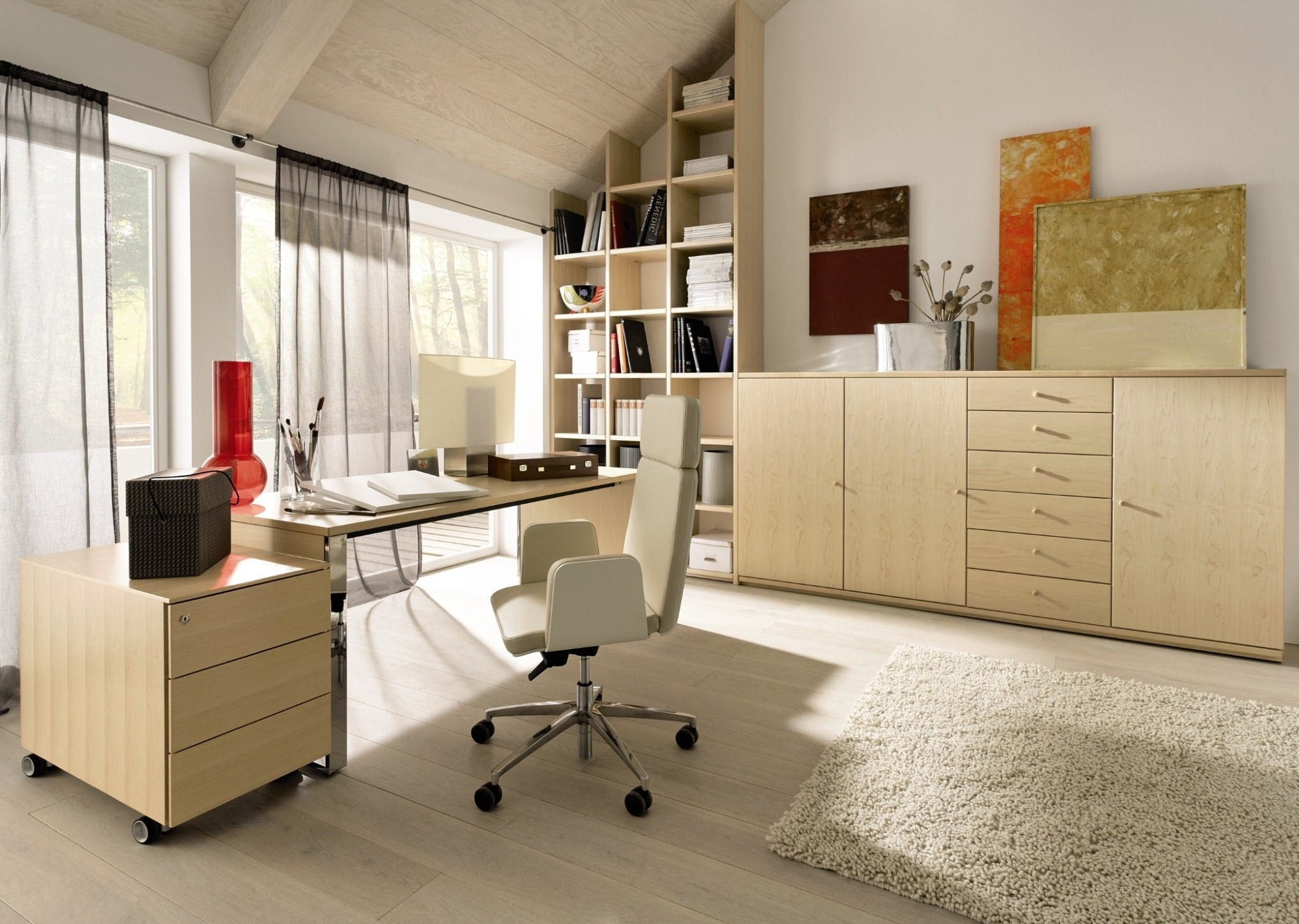 Impressive Office Interior Design Focus On Cozy Swivel Chair And Corner Wall Bookshelf Idea Feat Modern File Cabinets (View 6 of 30)