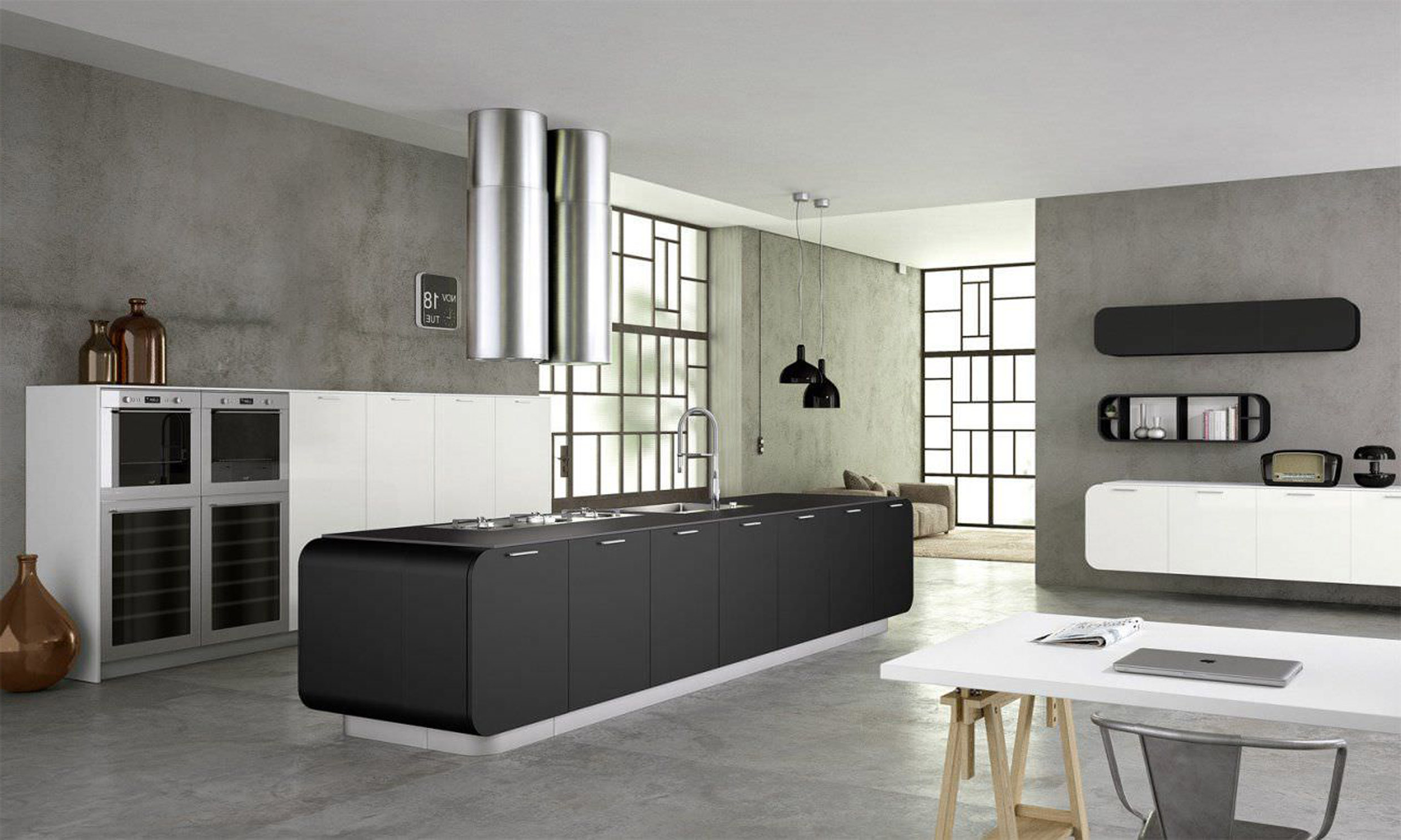 Inspirations Stylish Black And White Kitchen Good For Free Motion Contemporary Kitchen Islands Design Famous Style Of Modern Kitchen Designs (View 7 of 39)