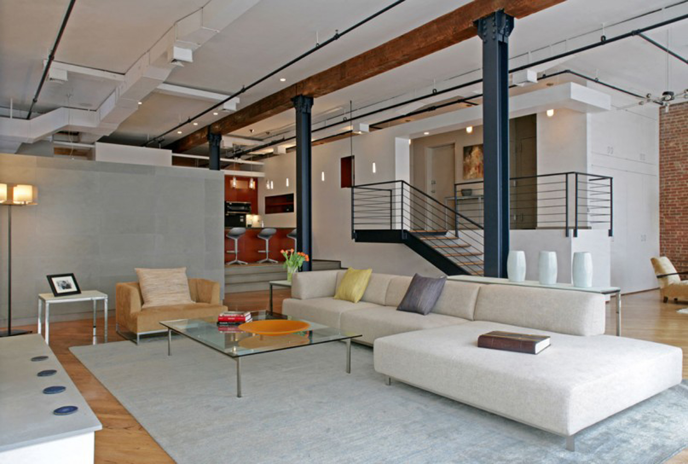 Luxurious Apartments Decoration With High Ceiling And White Sofa Also With Wooden Step Staircase Modern Apartments In New York City (Image 2 of 123)