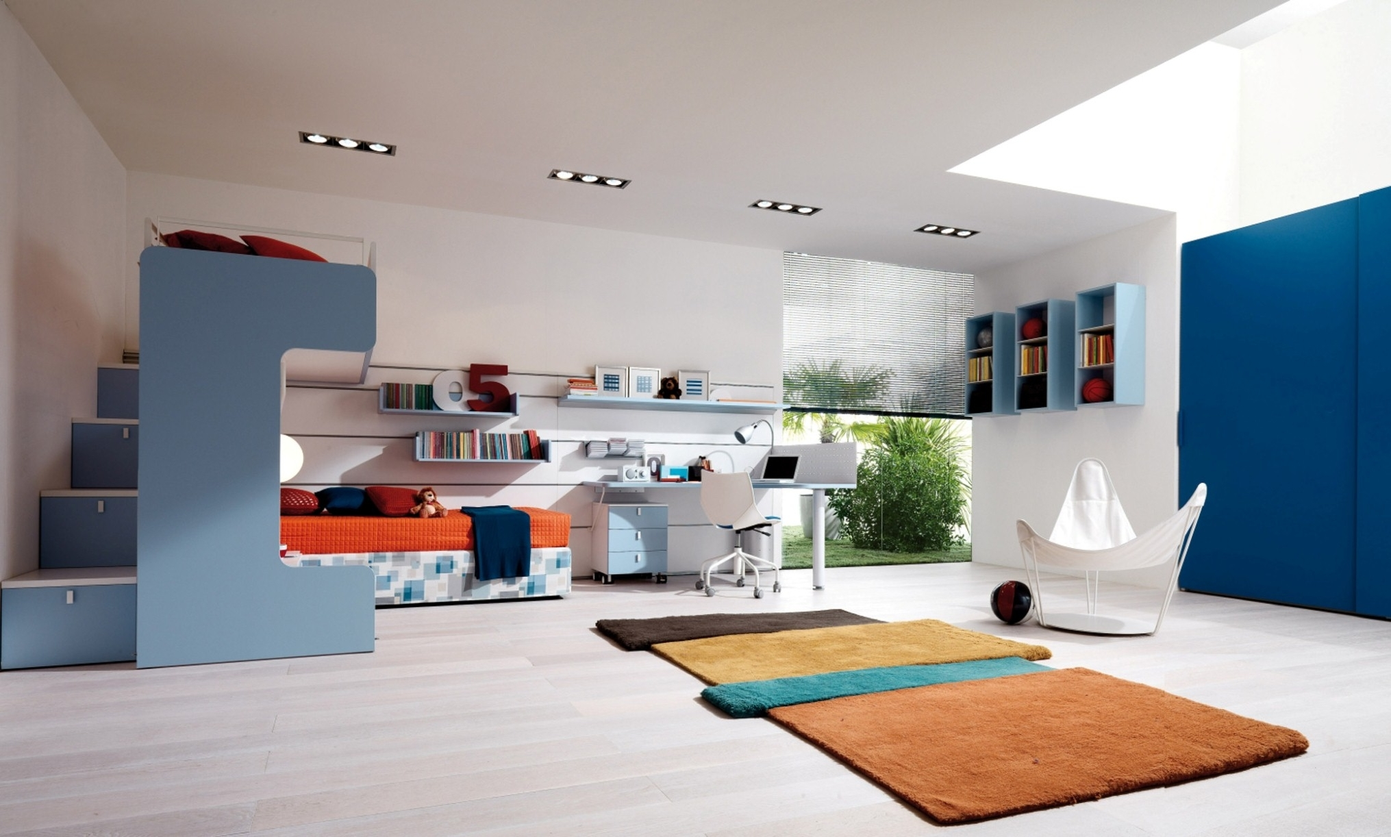 Luxurious Awesome Teenage Bedroom With Blue Interior Decor Plus Brown Rugs And Orange Bedding (Image 3 of 123)