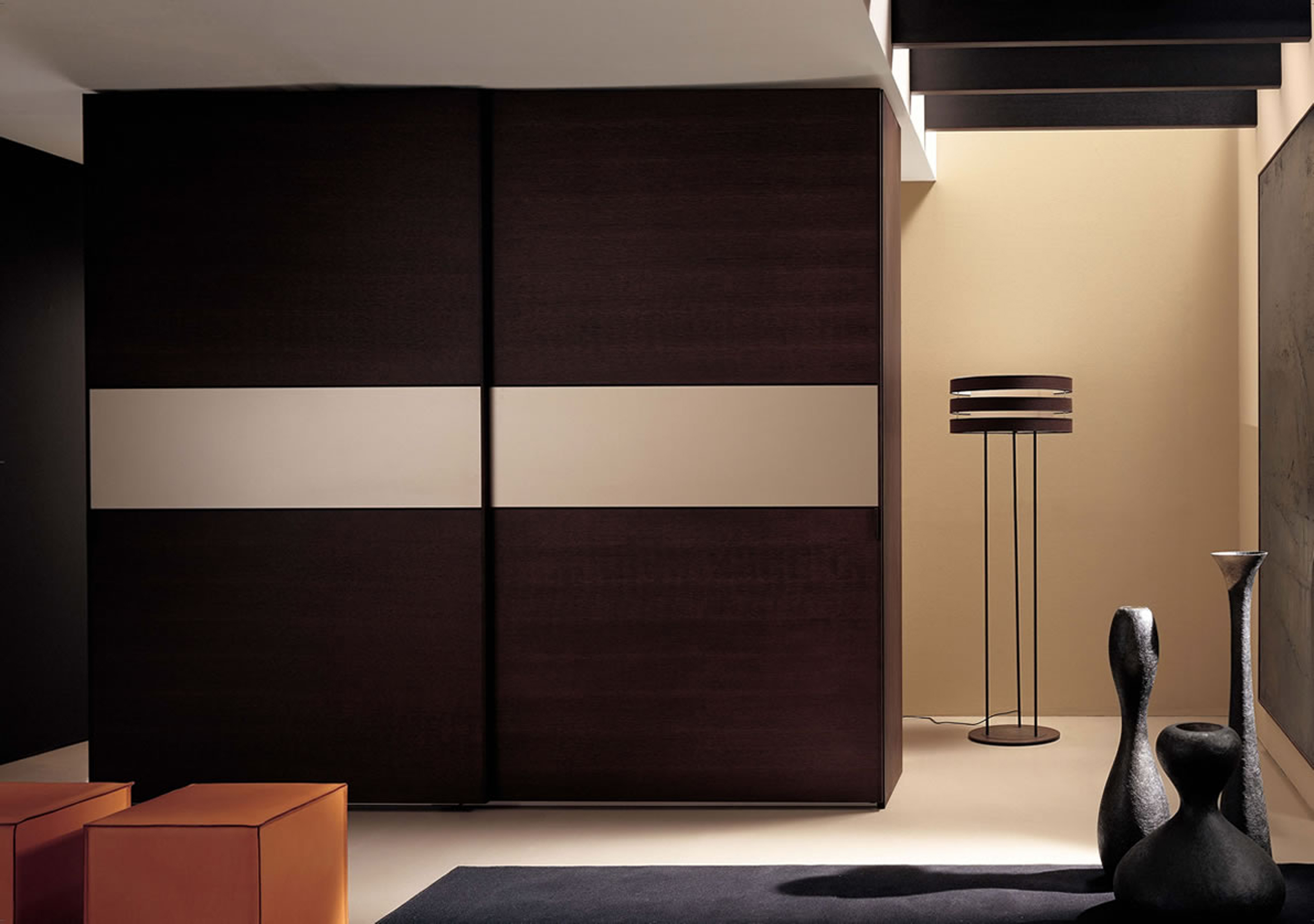 Luxurious Great Chocolate Wardrobe Design Idea With Cream Border Sliding Door And Orange Pouffes Charming Great Wardrobe Design Ideas (Image 9 of 123)