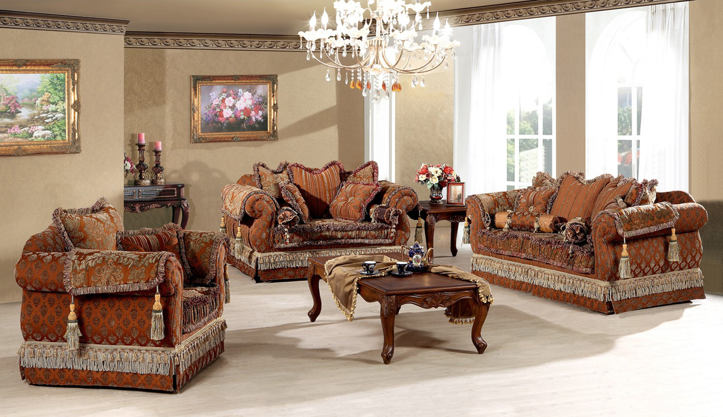 Luxurious Living Room Furniture Set Idea With White Chandelier Brown Table And Brown Sofas With Cushions Gorgeous Living Room Furniture Set Ideas (Image 22 of 123)