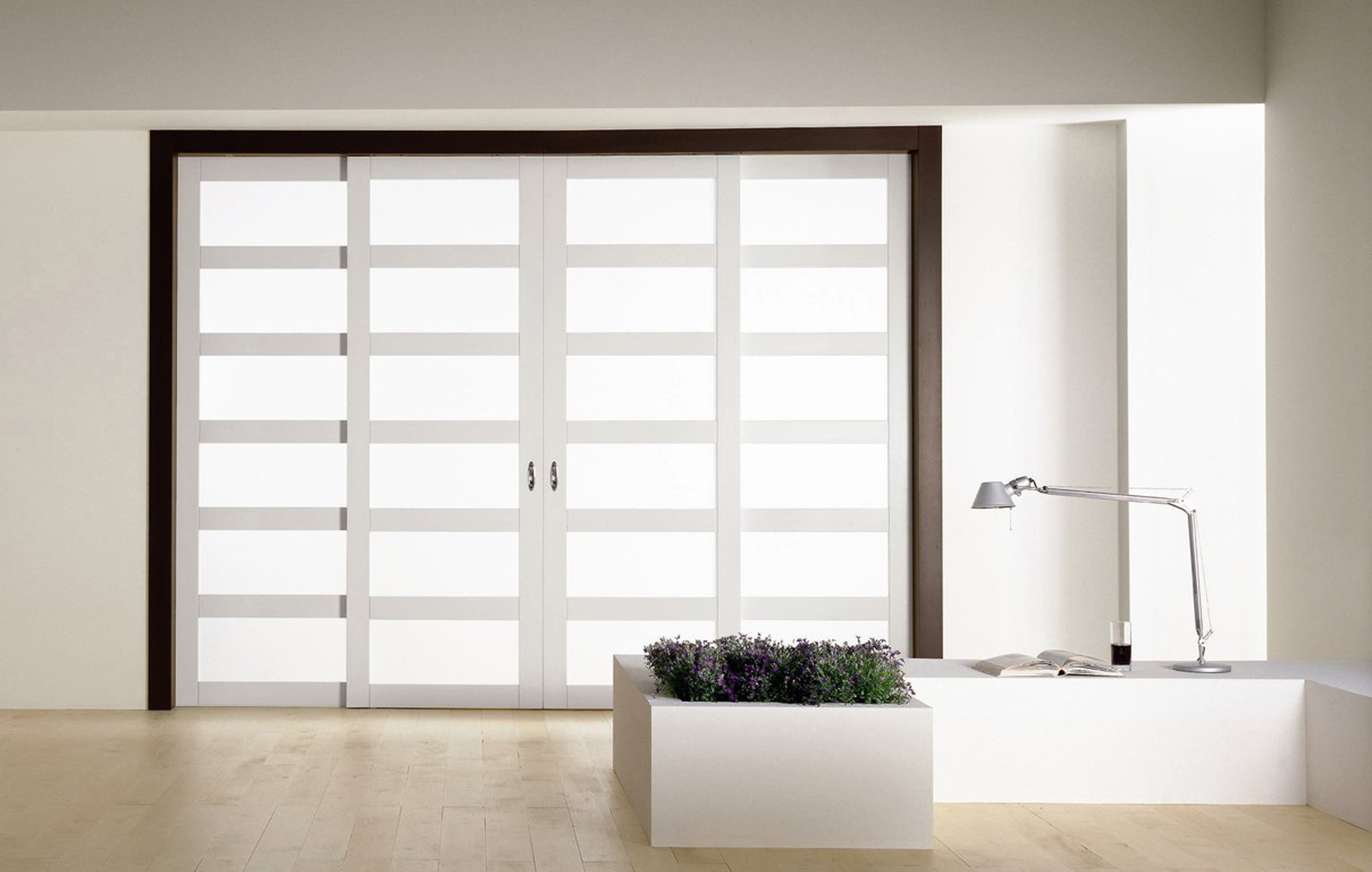 Luxurious White Sliding Door Design Inspiration With White Wall And Cream Floor Tile Great Sliding Door Design Inspiration (Image 35 of 123)