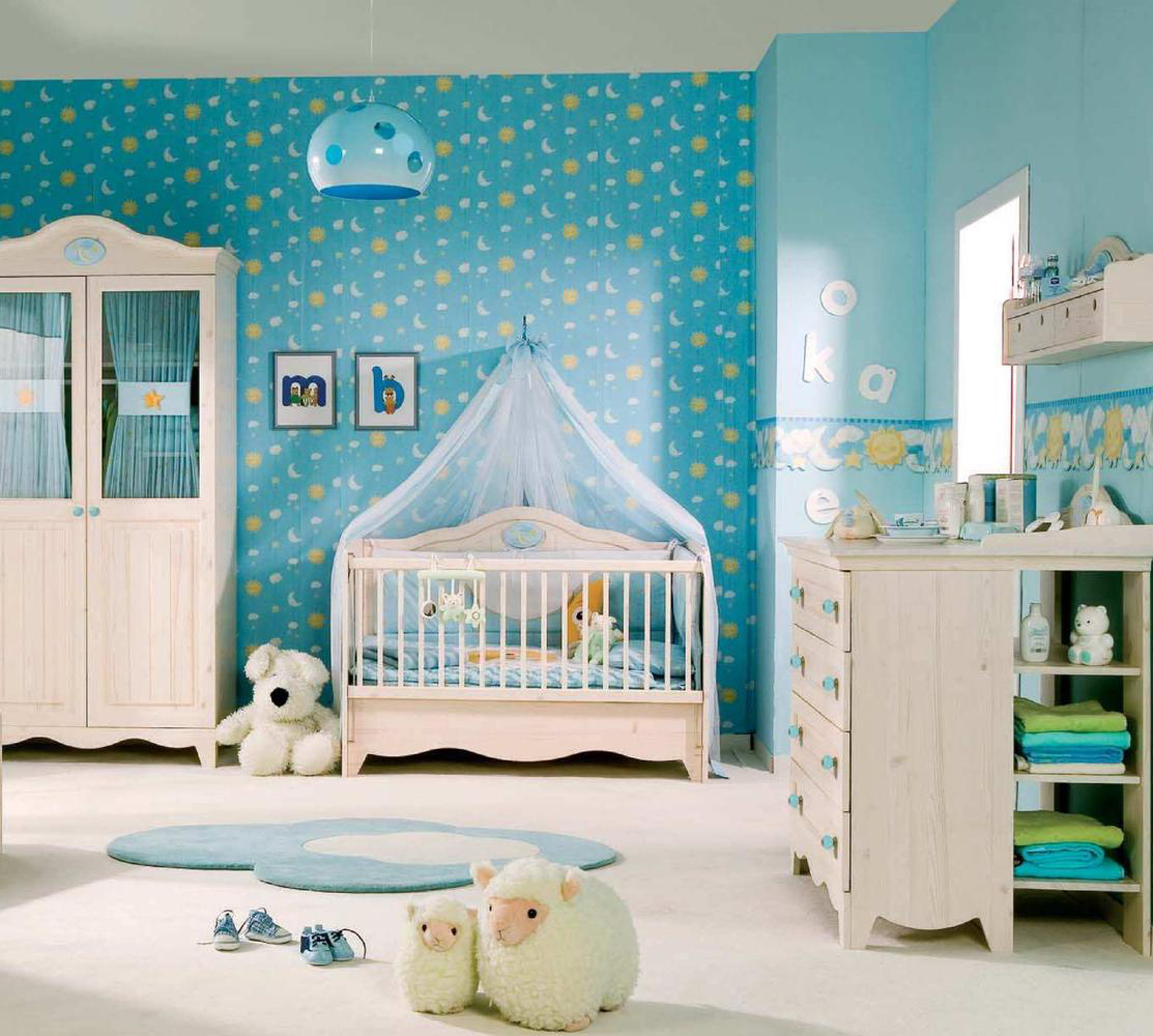Luxury Baby Girl Room Design Idea With Blue Wallpaper White Crib White Wardrobe And Cute White Sheep Dolls Beautiful Baby Girl Room Design Ideas (Image 39 of 123)