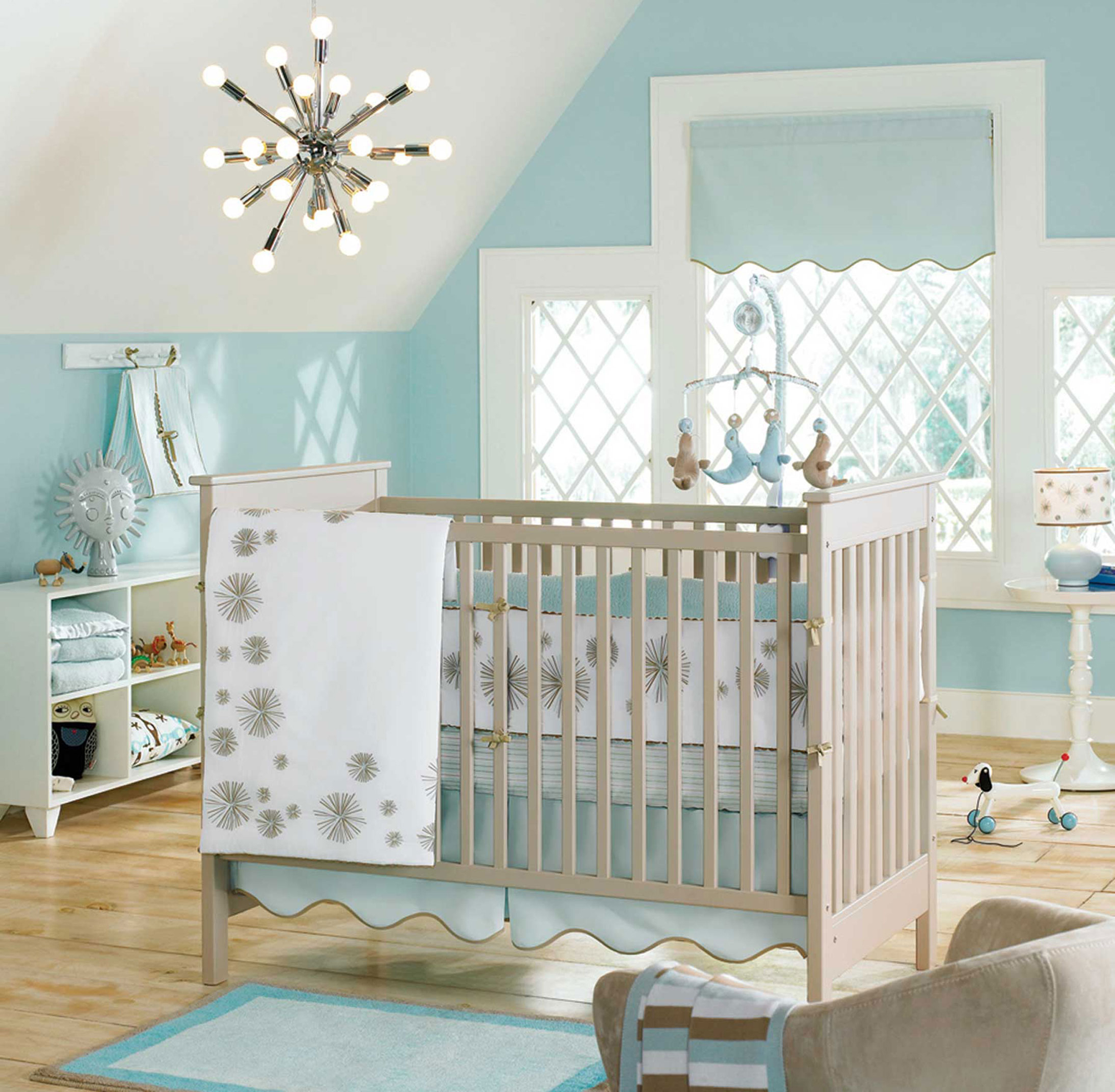 Luxury Baby Nursery Design Inspiration With Light Brown Crib With White Blanket Light Blue Wall And White Window Frames Pretty Baby Nursery Design Inspiration (Image 40 of 123)