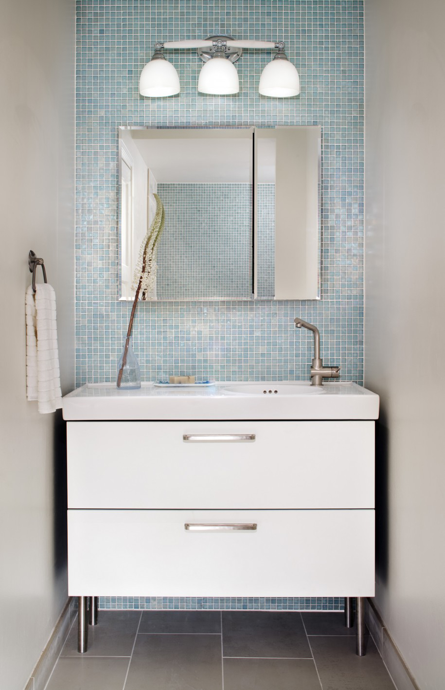 Luxury Blue Glass Tile With Square Mirror And White Wall Lamps And White Vanity With Silver Handles Cool Glass Tile Inspiration (Image 45 of 123)