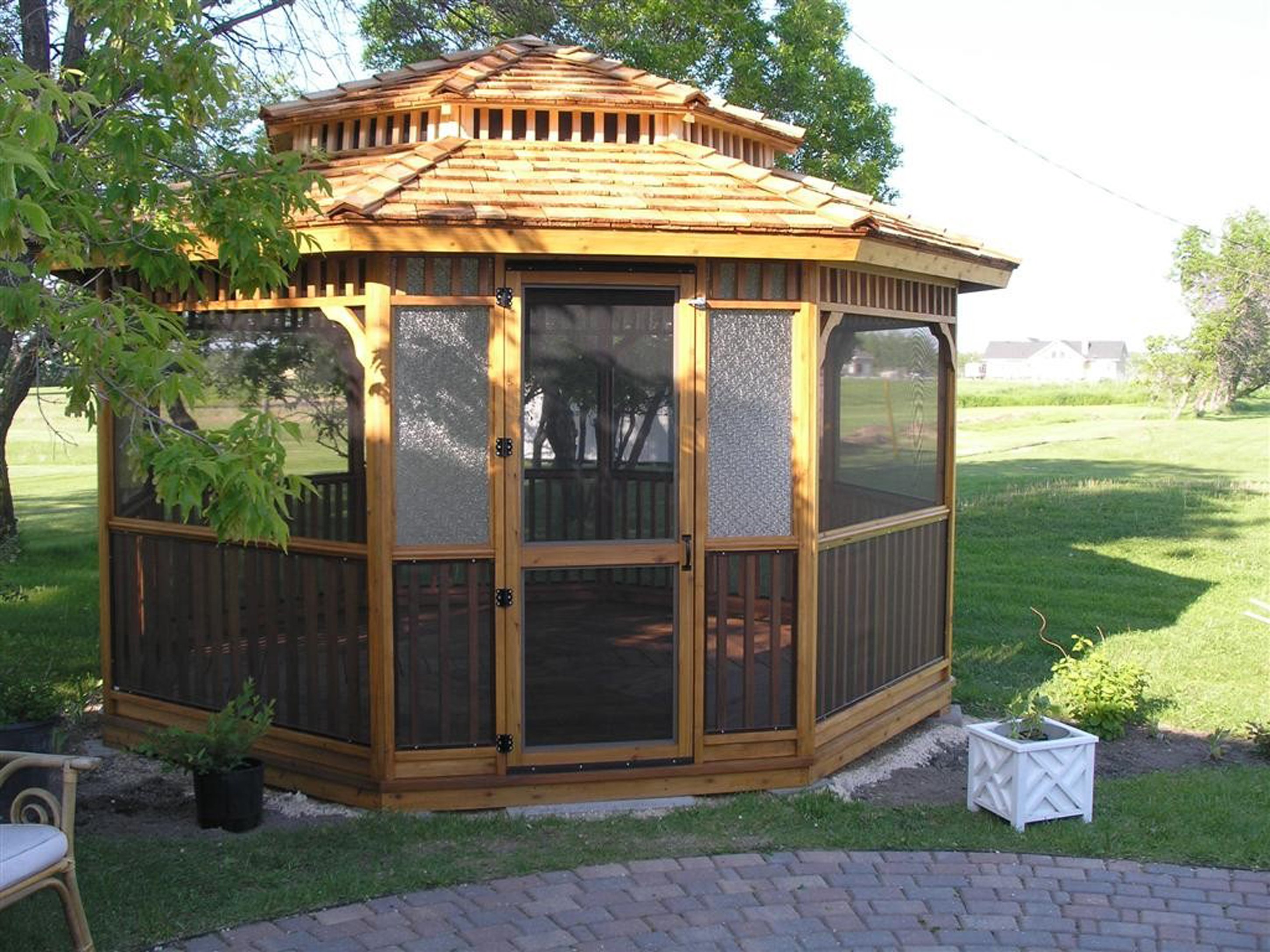 Luxury Brown And Black Gazebo Kit Design Inspiration With Black White Pots Green Yard And Trees Pretty Gazebo Kit Design Inspiration (Image 46 of 123)