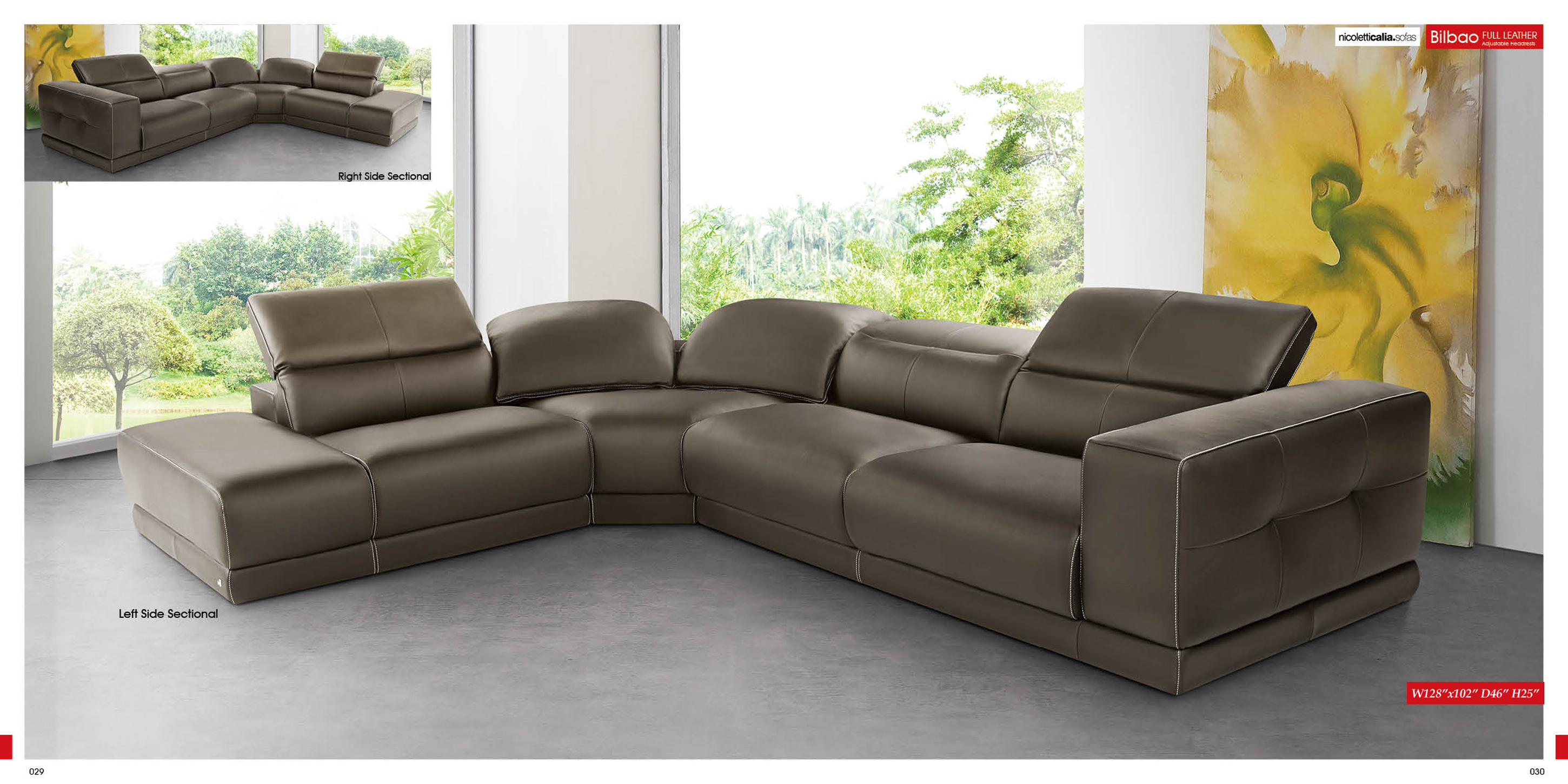 Luxury Brown Sectional Sofa Design Idea For Living Room With Yellow Floral Painting Frame Less Glass Windows And Gray Floor Tile Comfy Sectional Sofa Design Ideas For Living Room (Image 50 of 123)