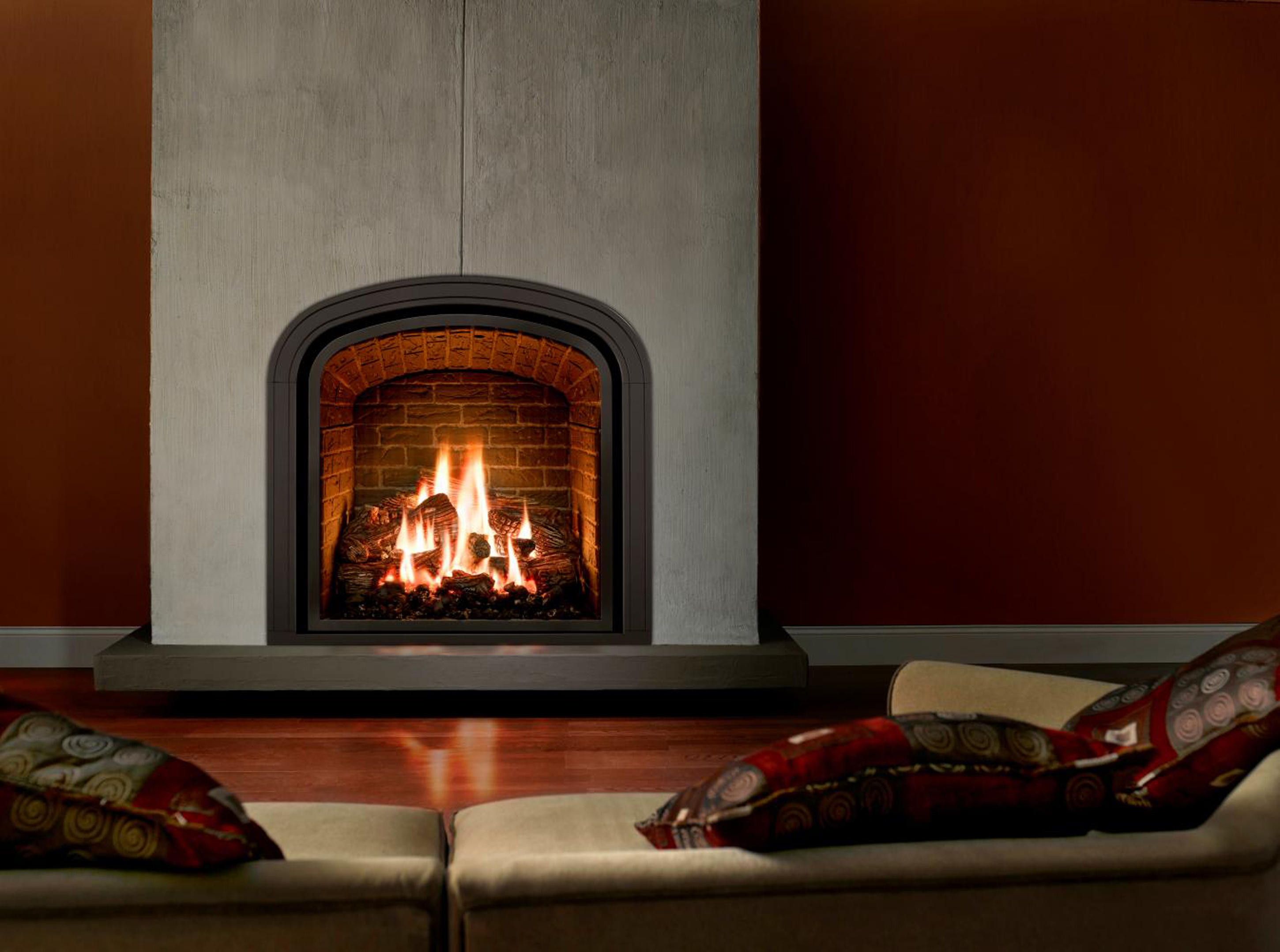 Luxury Fireplace Design Idea With Brown Brick Fireplace Wall Gray Red Wall And Brown Hardwood Floor Tile Elegant Fireplace Design Ideas (Image 57 of 123)