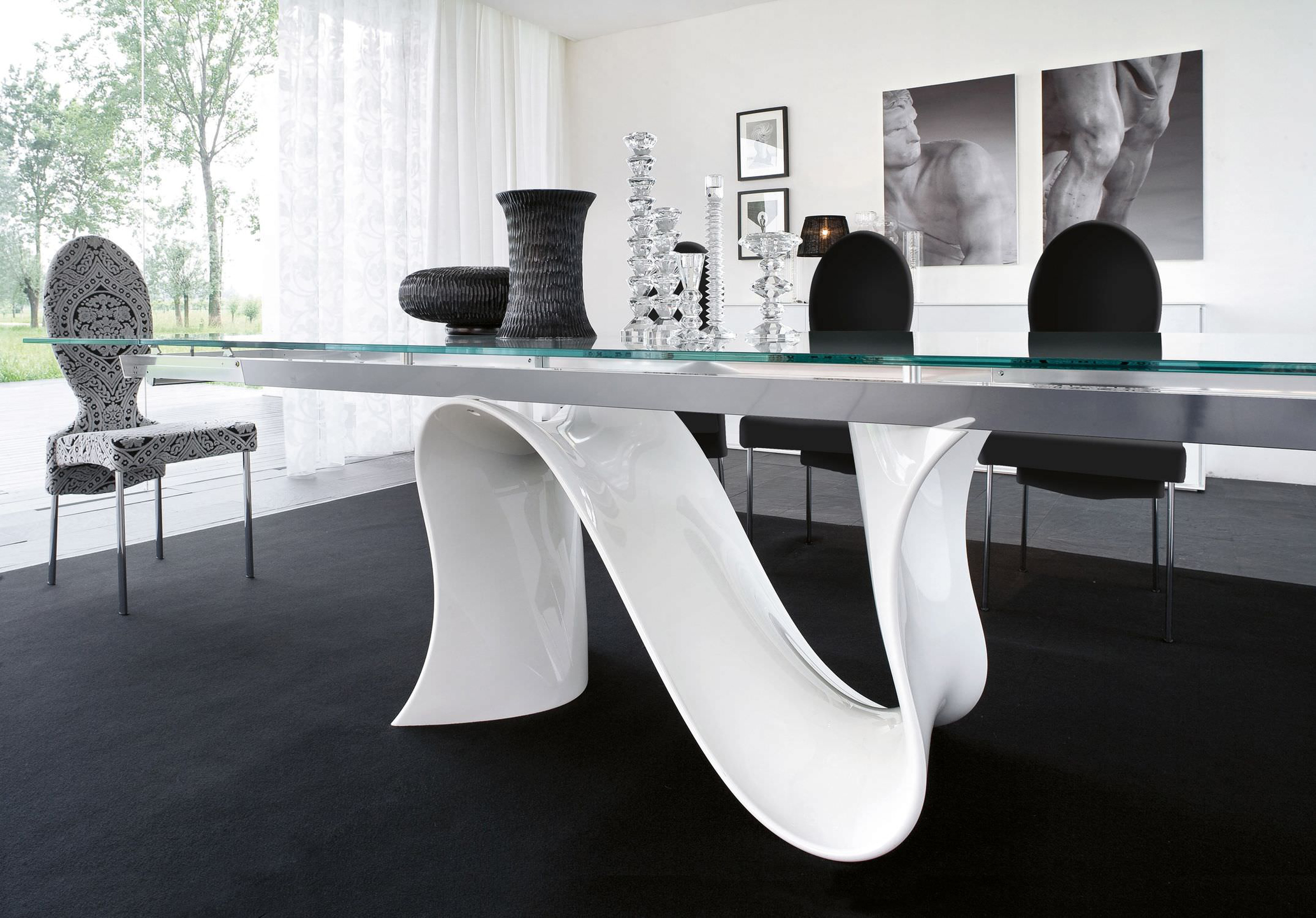 Luxury Glass Top Dining Table Design Idea With Unique White Base Black White Chairs And Lack Floor Tile Cool Glass Top Dining Table Design Ideas With Unique Bases (Image 59 of 123)