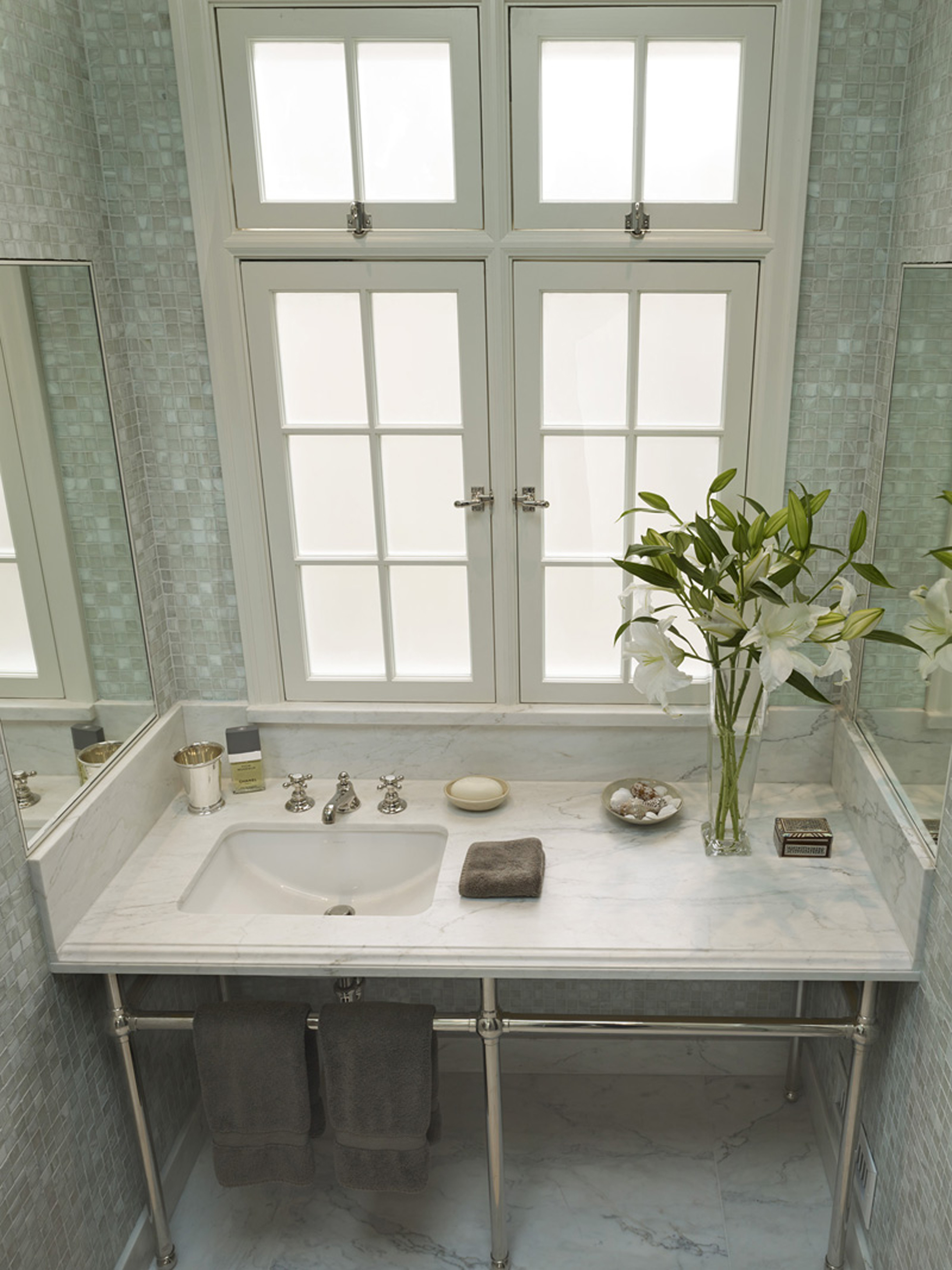 Luxury Gray Glass Tile With White Window Frame And Mirrors And White Countertop With Whiet Sink And Green Plant With Whiet Flowers Cool Glass Tile Inspiration (Image 60 of 123)