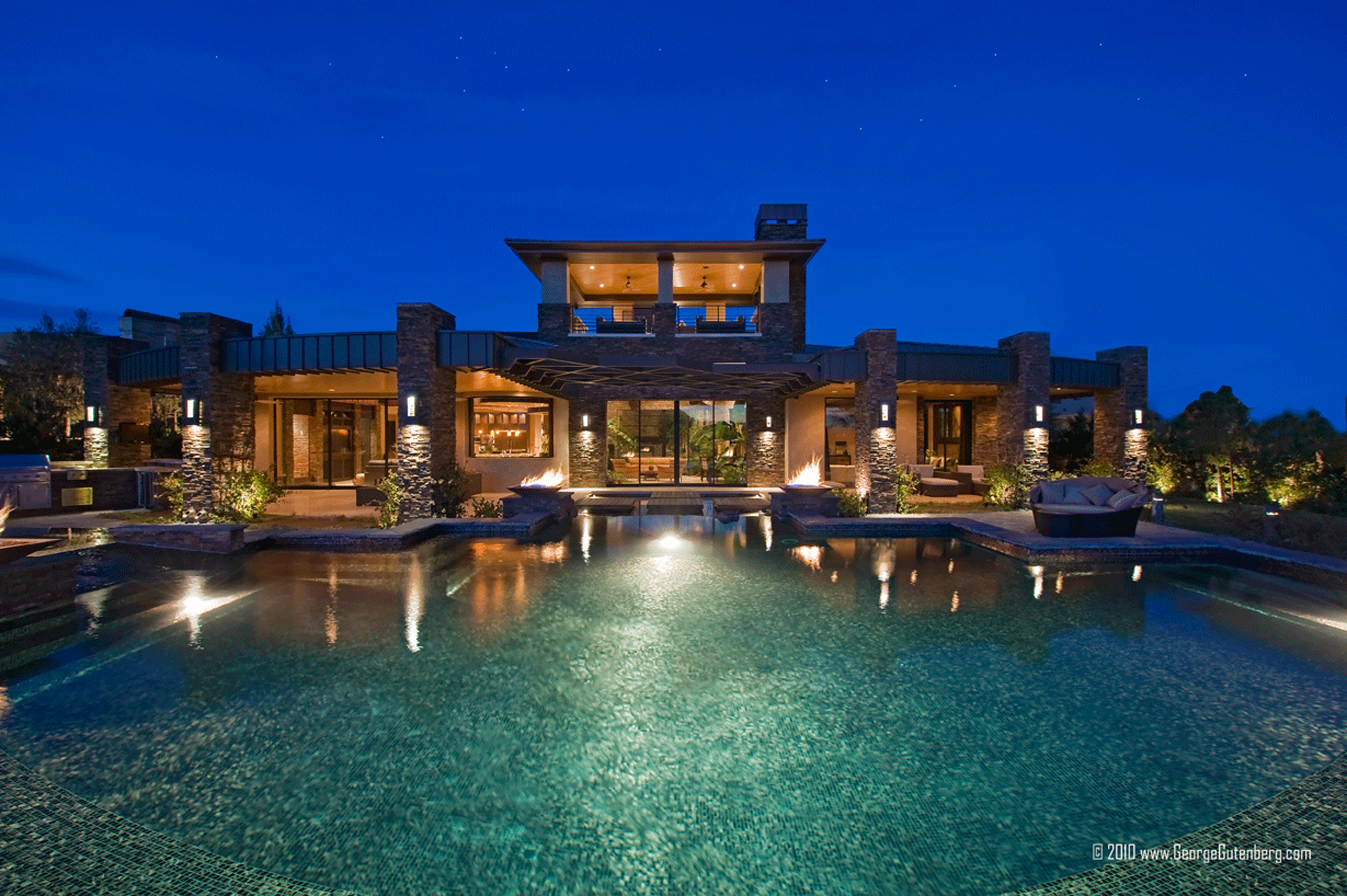 Luxury House Design Inspiration With Brown Wall Brown Stone Pillars And Green Pool Luxury House Design Inspiration (Image 65 of 123)