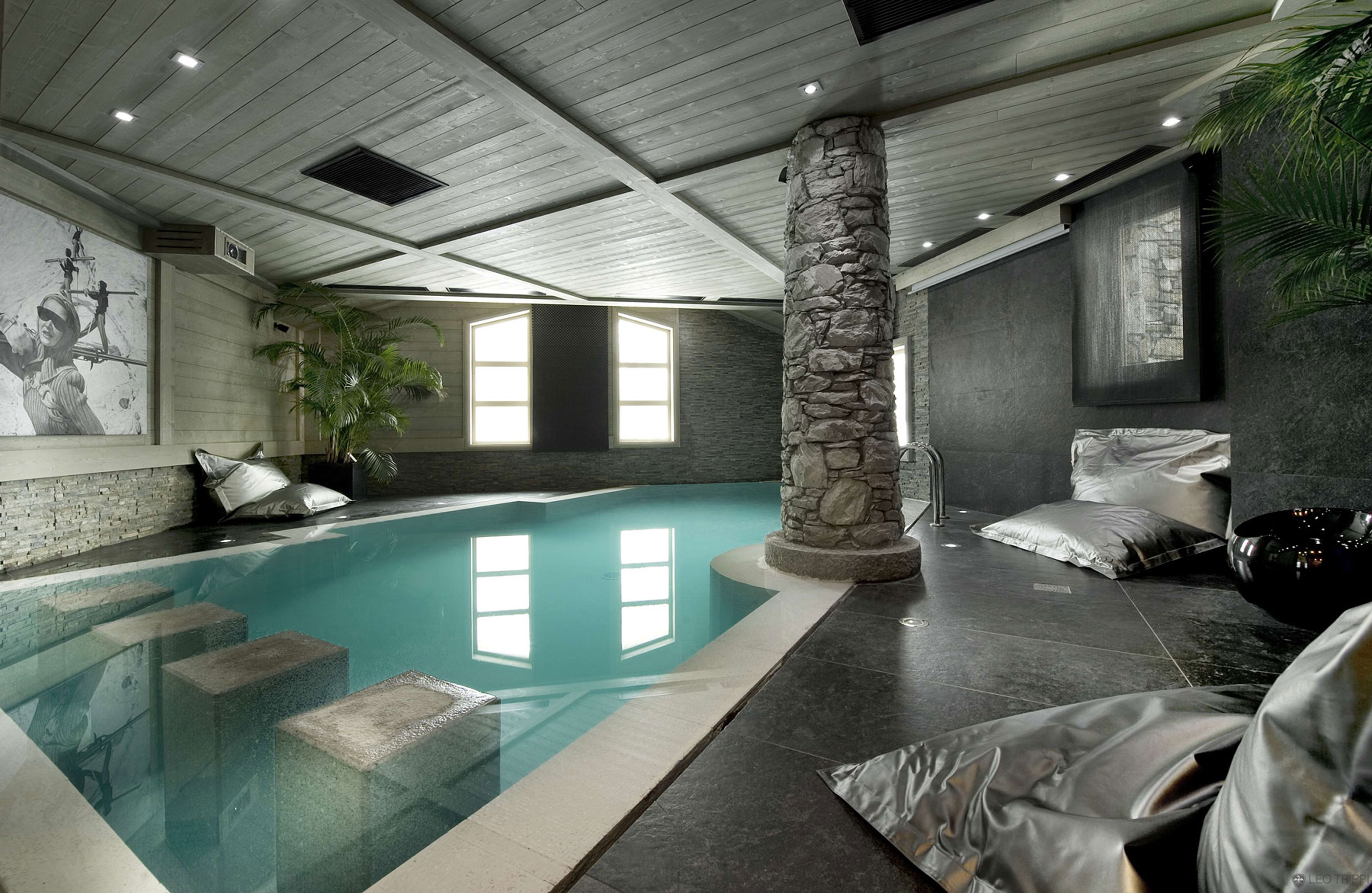 Luxury Indoor Swimming Pool Design Idea With Clear Blue Pool Water Black Floor Tile And Gray Stone Pillar Cool Indoor Swimming Pool Design Ideas (Image 70 of 123)