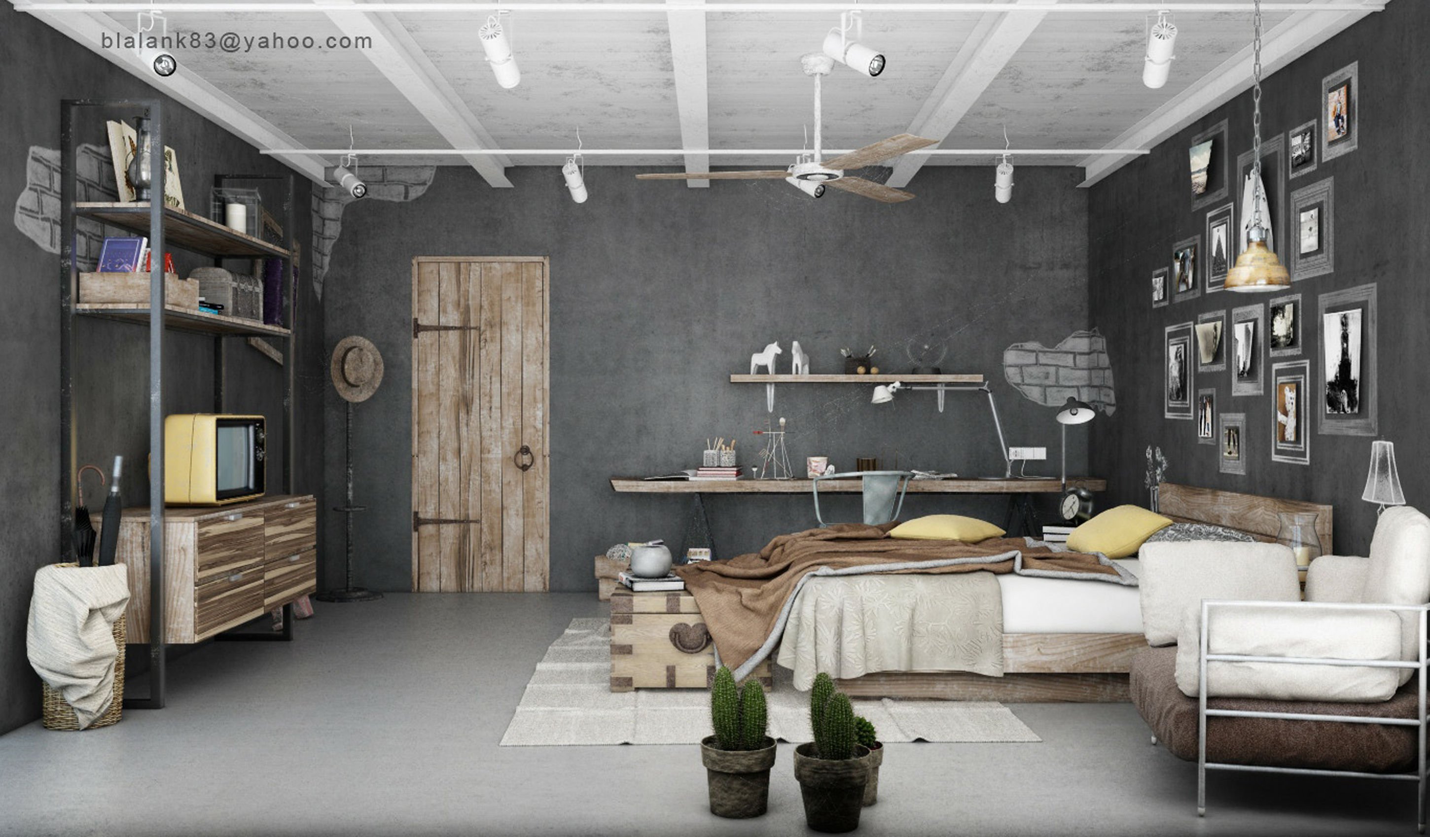 Luxury Industrial Home Interior Design Idea For Bedroom With Brown Bed Gray Wall And Brown Door Alluring Industrial Home Interior Design Ideas (Image 71 of 123)