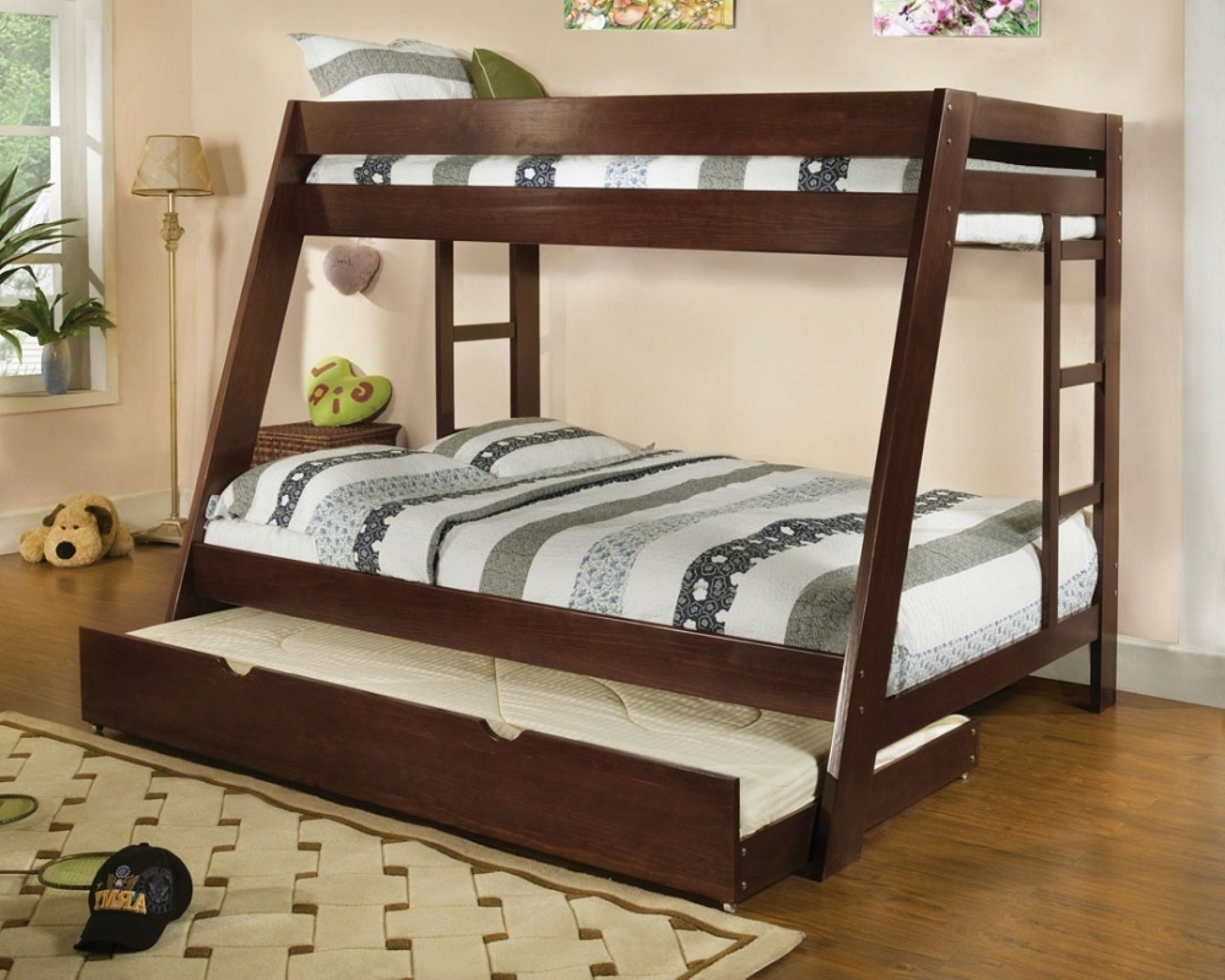 Luxury Interior Kids Bedroom Filled Cool Dark Wood Bunk Bed With Trundle And Double Ladders Feat Contemporary Corner Floor Lamp (Image 79 of 123)