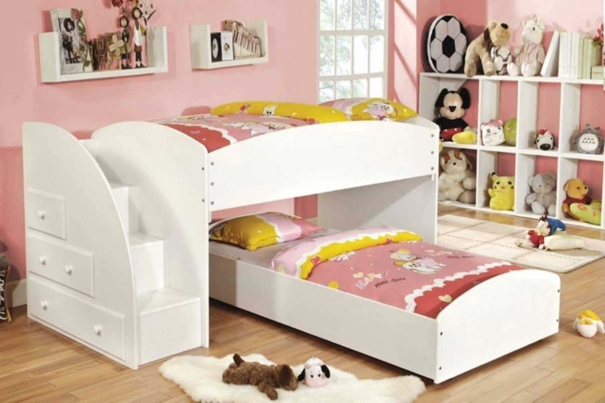 Luxury Interior Kids Girl Room Idea Focus On Stylish Bunk Bed With Stairs Design And Floating Bookshelf Plus Light Wood Floor (Image 82 of 123)