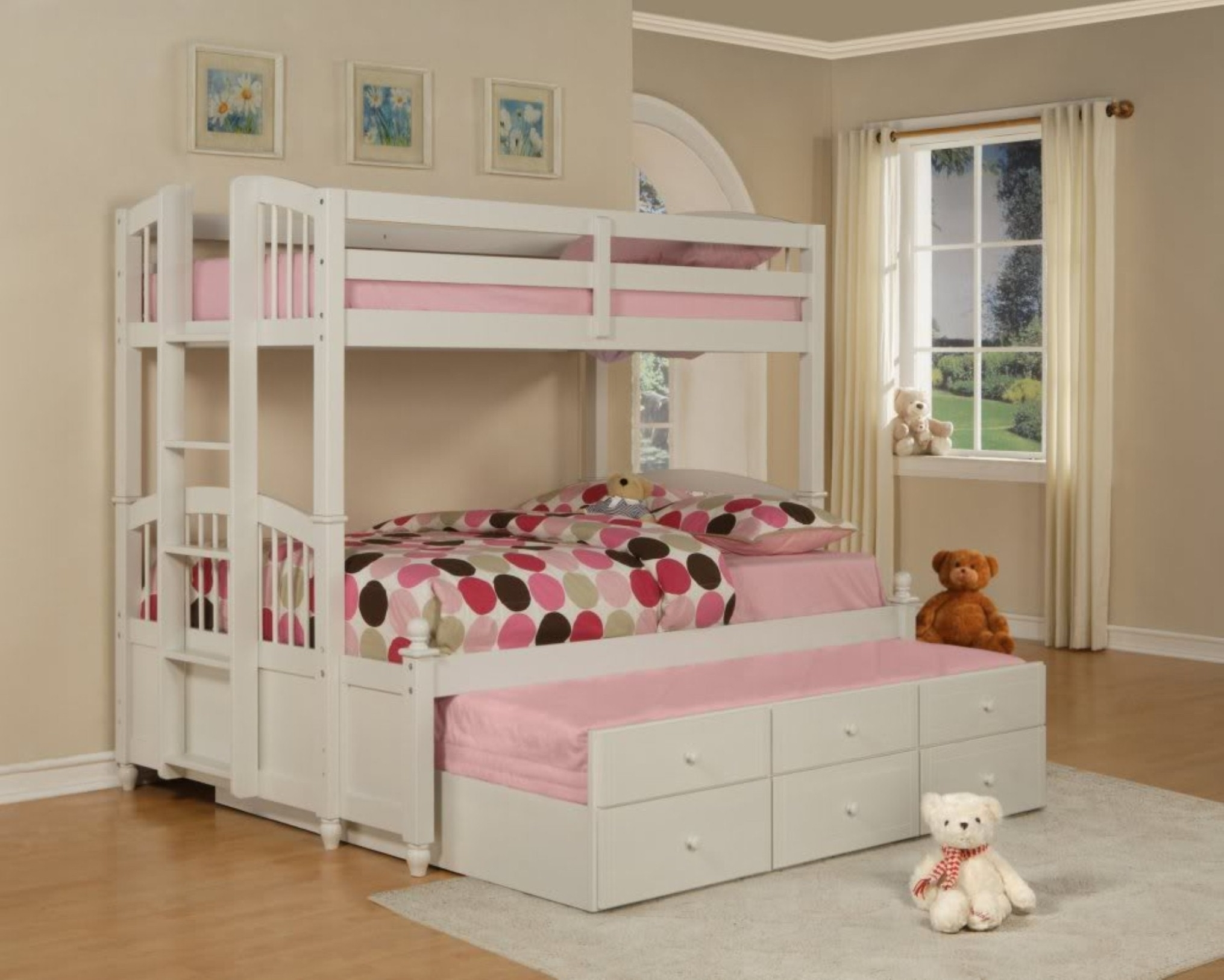 Luxury Interior Kids Room Idea For Girl Focus On Wonderful White Bunk Bed With Trundle And Polka Dot Bedding (Image 83 of 123)