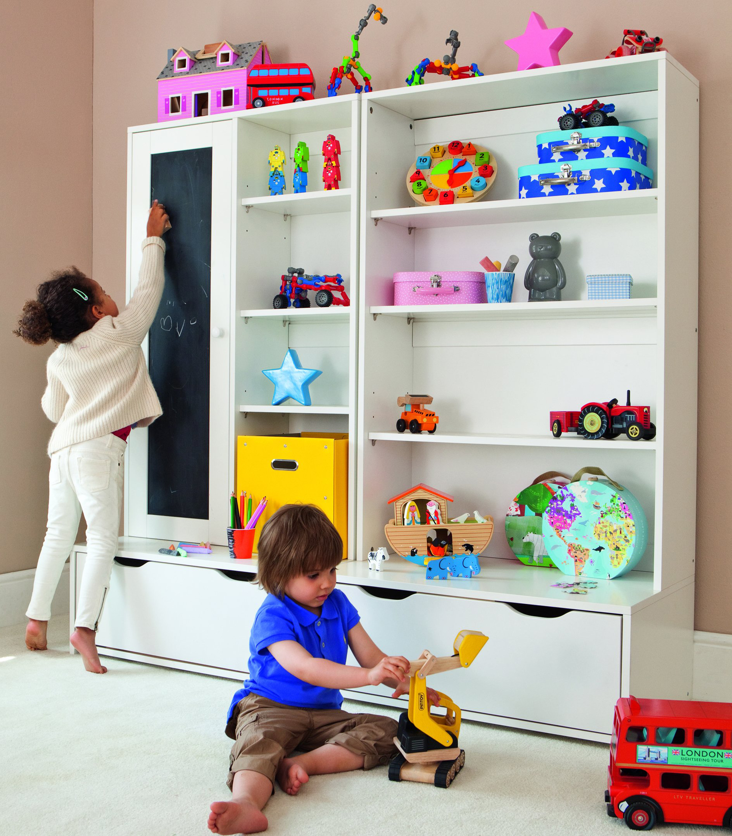 Luxury Kids Playroom Design Idea With White Open Shelves With Toys Light Brown Wall And Red Toy Car Interesting Kids Playroom Design Ideas (Image 85 of 123)