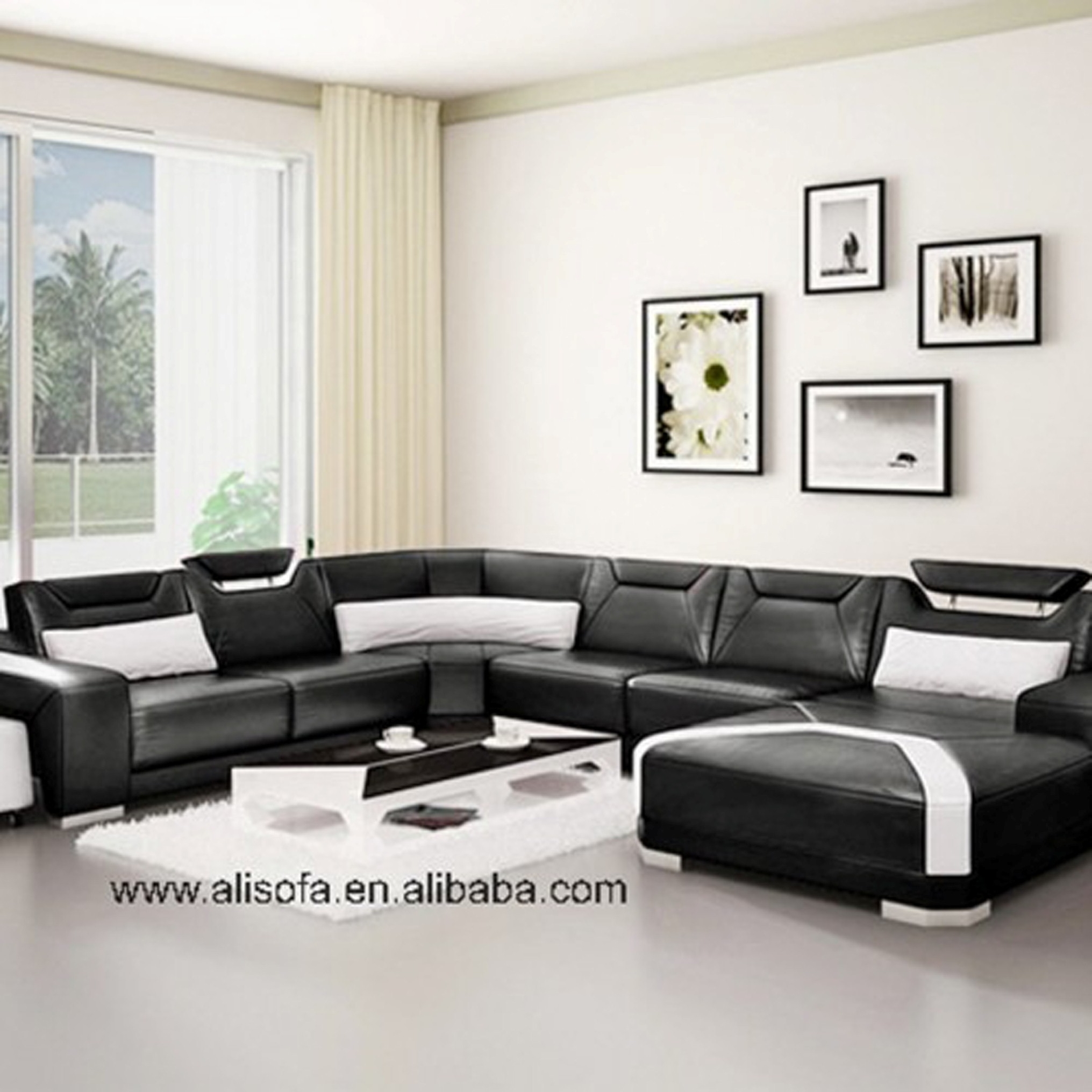 Luxury Living Room Design With Entrancing Black And White Furniture Sets Featruing Unique U Shaped Sofa Ideas Plus Likeable Wall Picture Frame Decoration (Image 92 of 123)