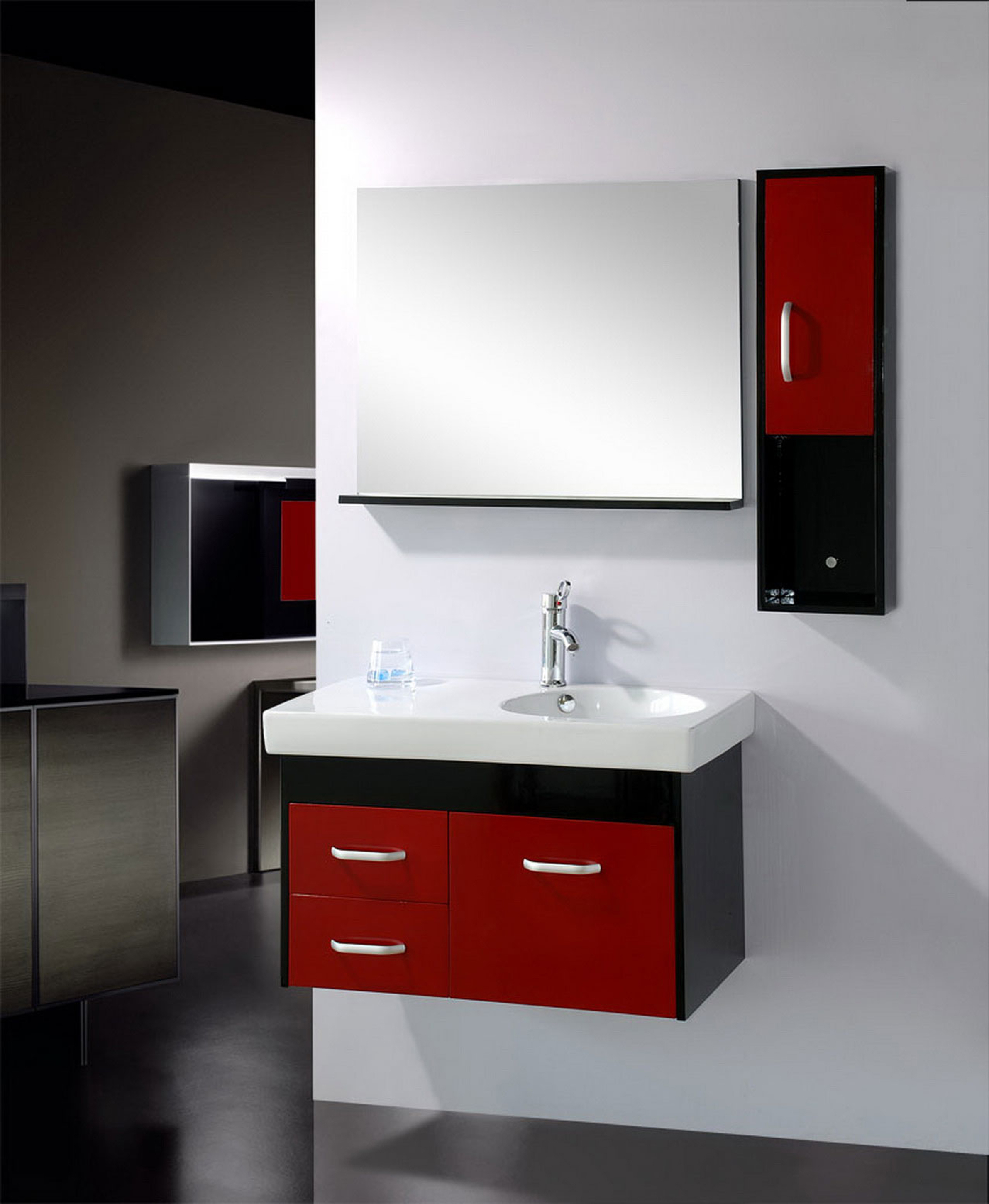 Luxury Mirror Design Bathroom Idea With Black Red Wall Cabinet With Silver Handle Luxury Mirror Design Bathroom Ideas (Image 97 of 123)