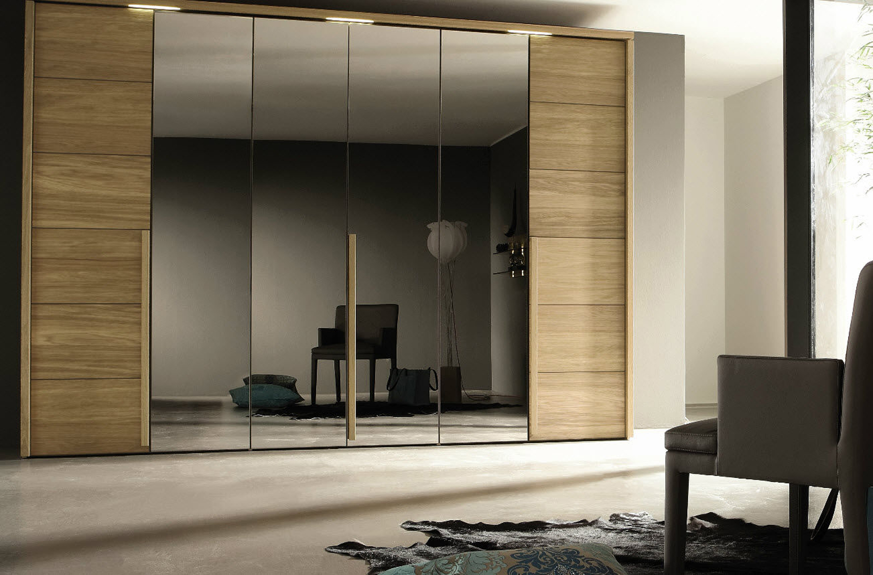 Luxury Modern Brown Wardrobe Design Idea With Mirror White Wall And Cream Floor Tile Charming Modern Wardrobe Design Ideas (Image 98 of 123)