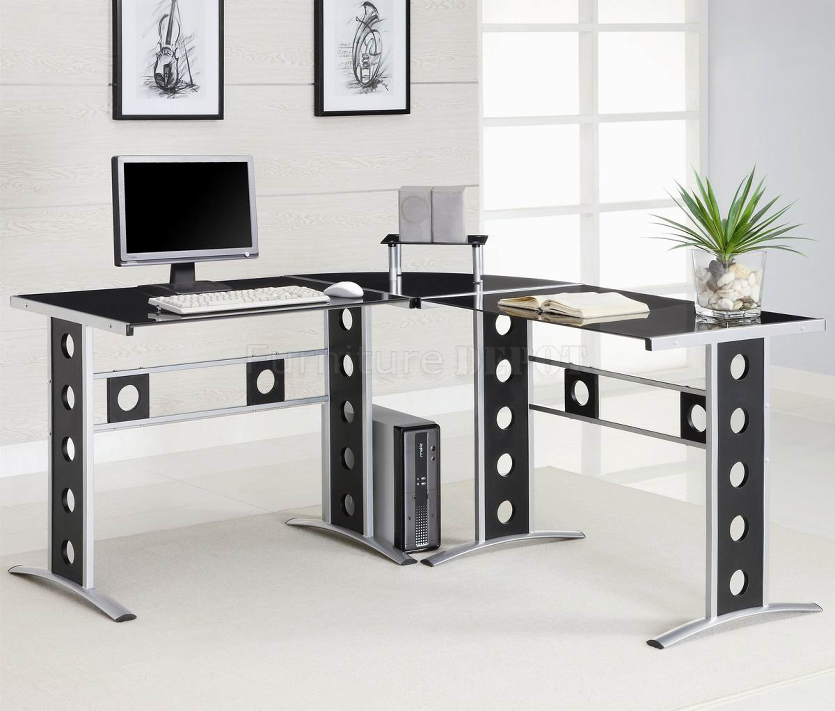 Luxury Modern Home Office Desk Design Idea In Black With Black Silver Base With Hole Accents White Books And Glass Pot Wth White Stones And Green Plant Simple Modern Home Office Desk De (Image 101 of 123)