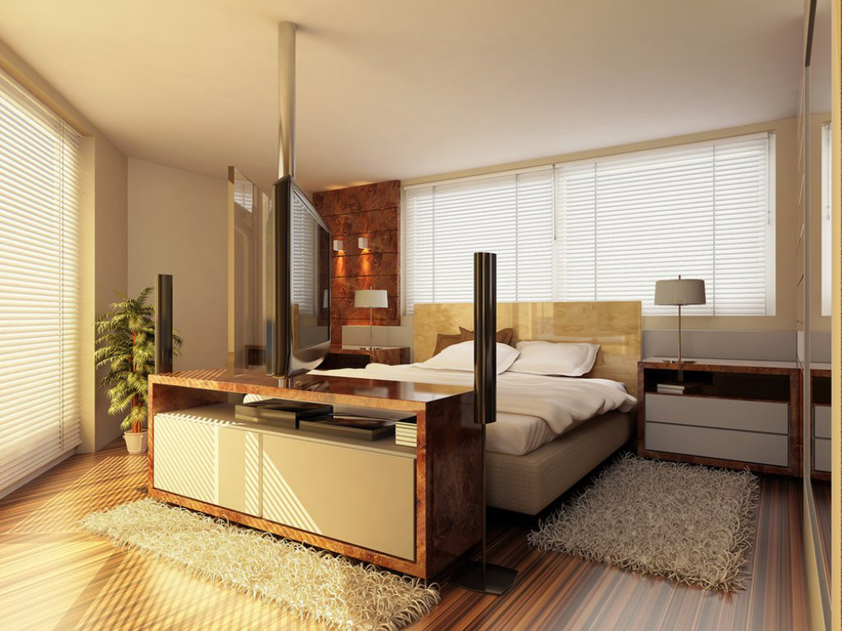 Luxury Modern Master Design Bedroom Idea With Brown Hardwood Floor Tile Light Brown Bed Frame With White Bed Sheet And White Desk Lamps Stunning Modern Master Design Bedroom Ideas (Image 105 of 123)