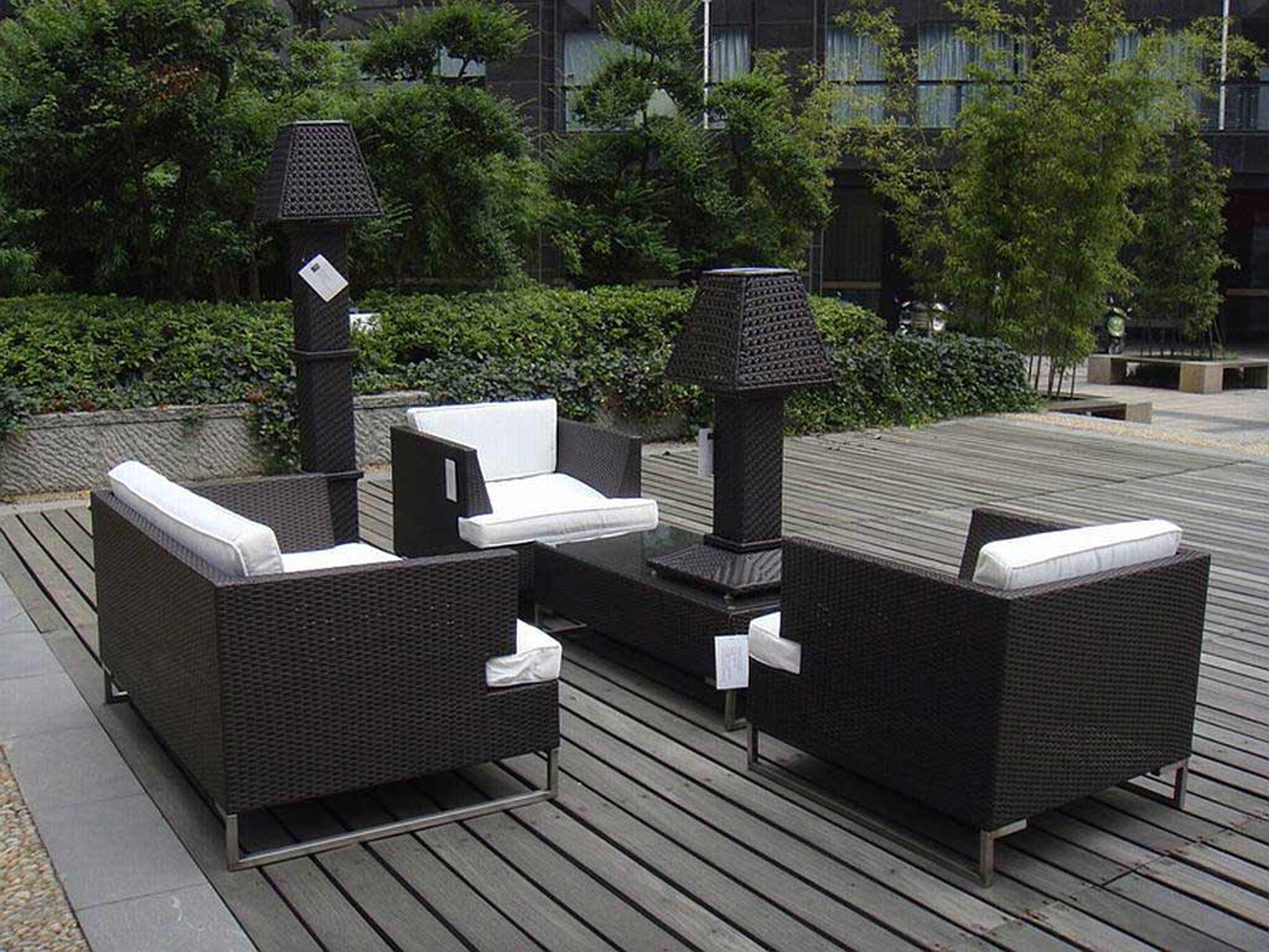 Luxury Modern Outdoor Design Idea With Black Wicker Sofas With White Seat Cushions And Black Coffee Table With Black Desk Lamp Affordable Modern Outdoor Design Ideas (Image 107 of 123)