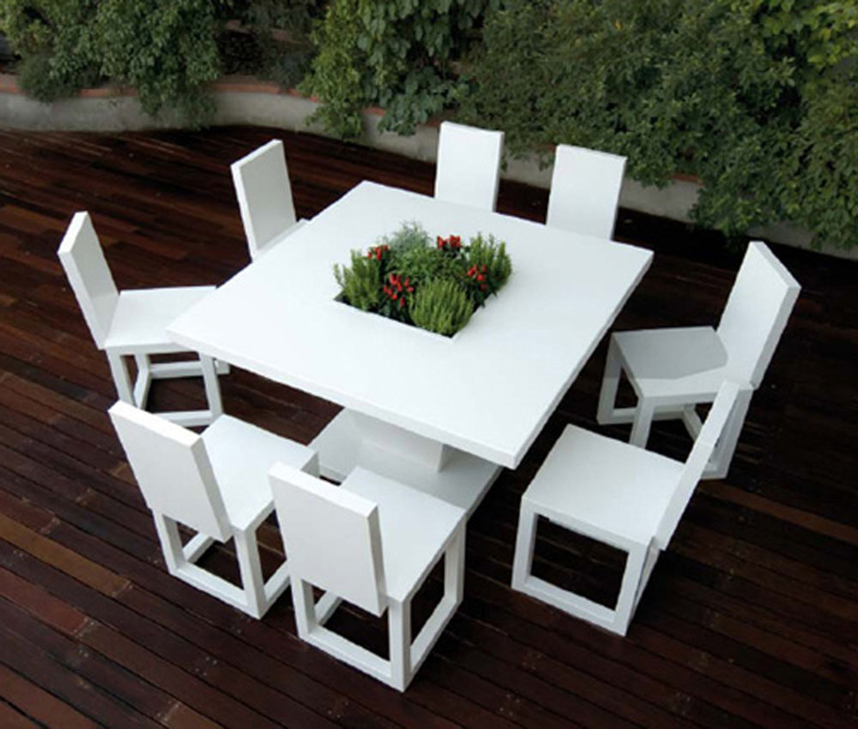 Luxury Modern Outdoor Design Idea With Square White Dining Table With Green Plants And White Chairs Impressive Modern Outdoor Design Ideas (Image 109 of 123)