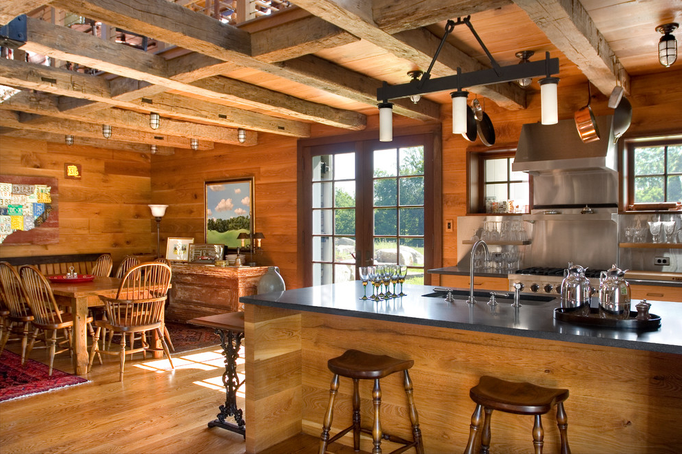 Mid Sized Country Eat In Rustic Kitchen With Open Cabinets And Medium Tone Wood Cabinets (Image 5 of 19)