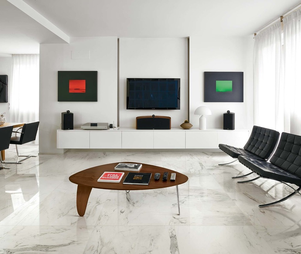 Mid Sized Modern Simple Decor For Living Room Idea With White Walls Marble Floors And A Wall Mounted Tv (Image 6 of 9)