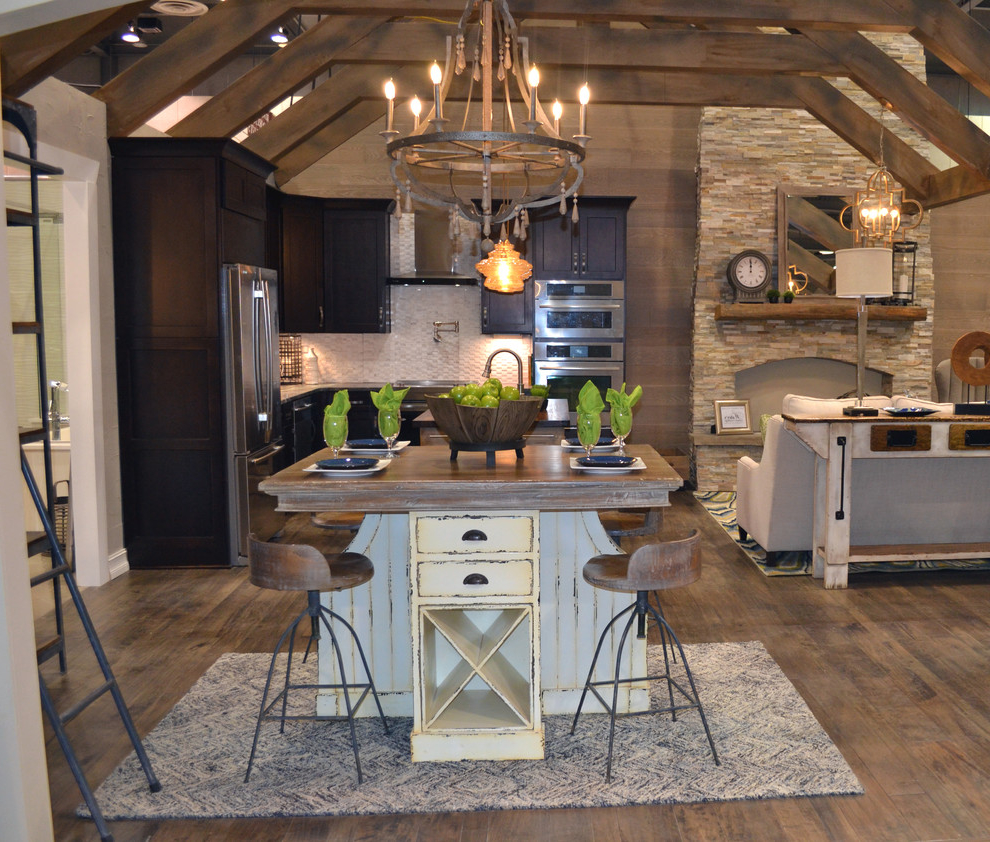 Mid Sized Rustic L Shaped Open Concept Kitchen Combined With Classic Living Room (Image 6 of 19)