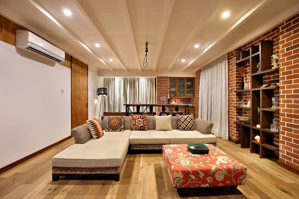 Modern Indian Living Room With Decorative Brick Wall Interior Design (Image  8 Of 12)