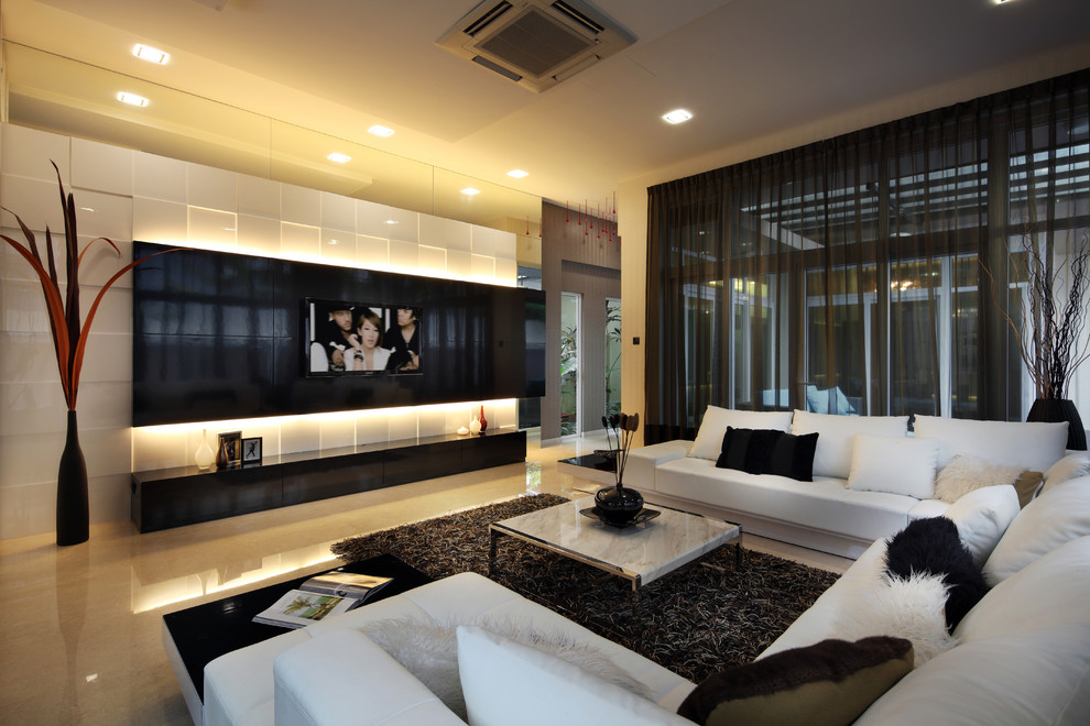 Modern Luxury Wall Mounted Tv Stand With Led Lighting In The Back (Image 5 of 17)