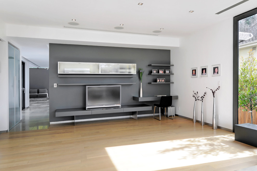 Modern Wall Mounted Tv Stand In Grey Color (Image 10 of 17)