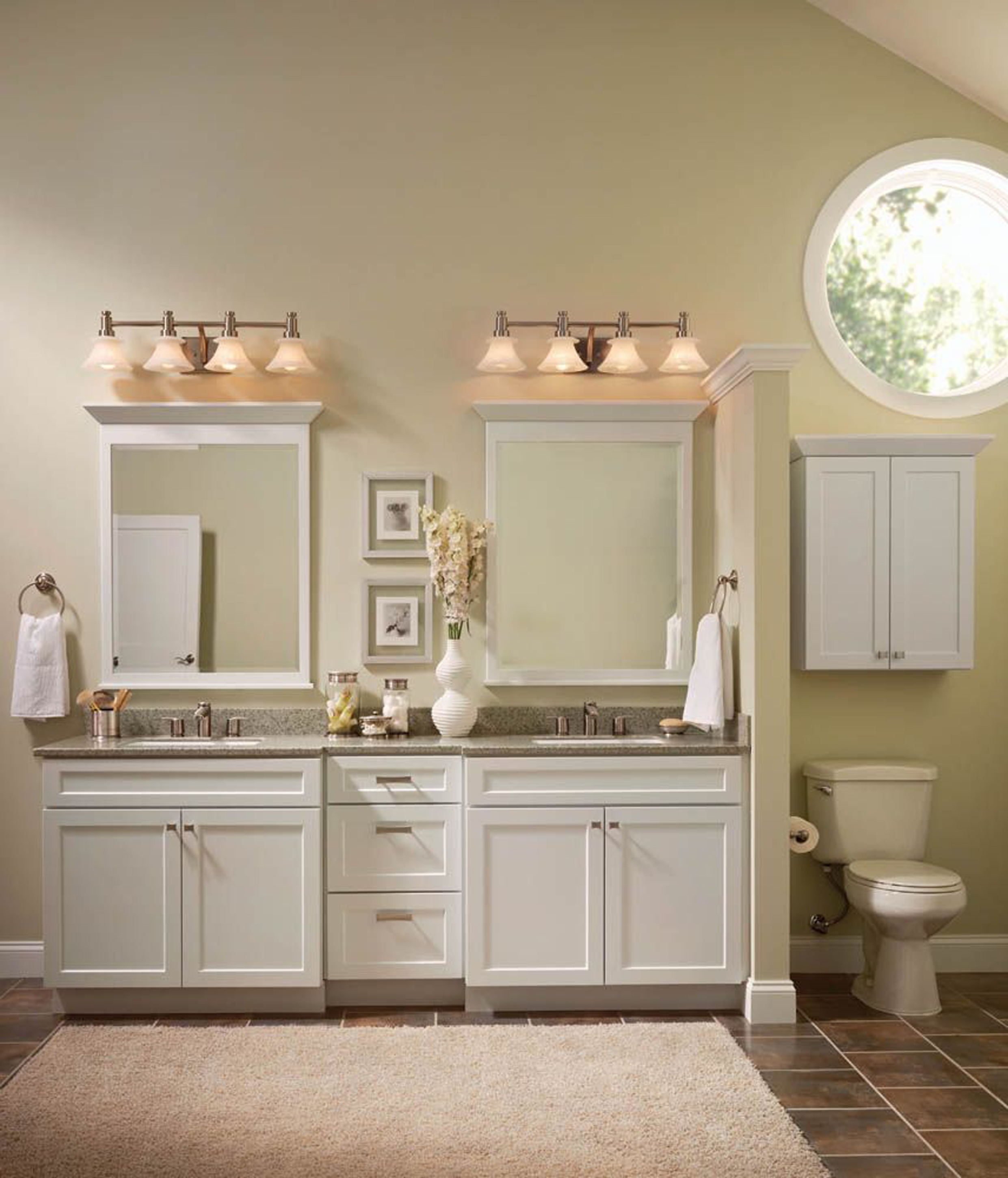 Popular White Design Bathroom Idea With White Vanities White Mirror Frames And White Wall Lamps Remarkable White Design Bathroom Ideas (View 18 of 23)