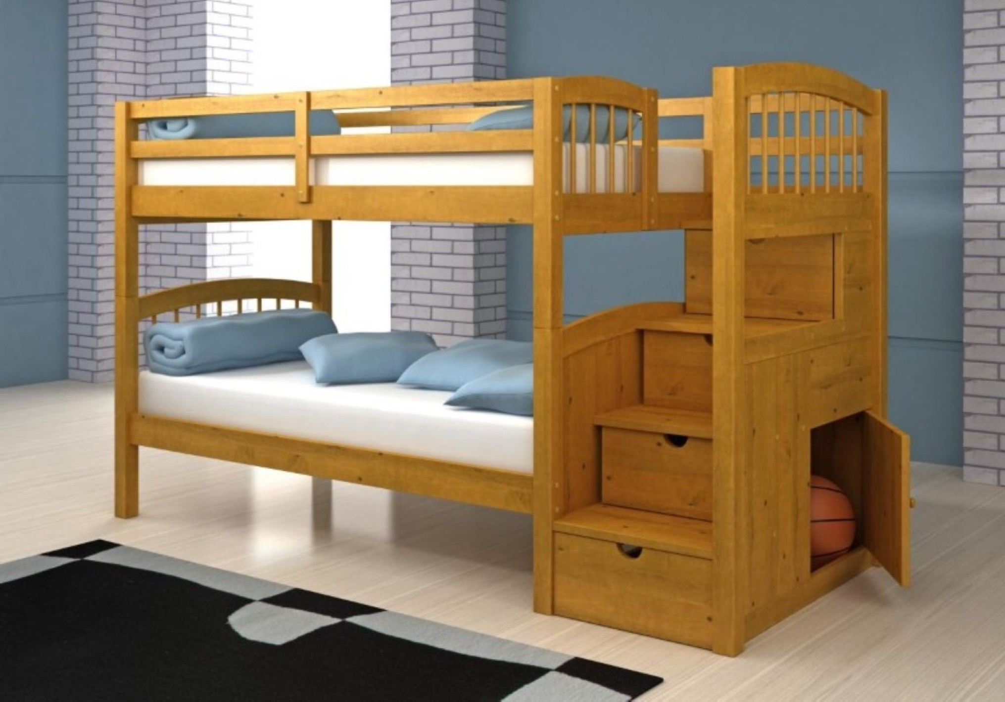 Pretty Bedroom Wall Idea And Laminate Floor Design Feat Modern Wood Bunk Bed With Modern Stairs (Image 17 of 28)