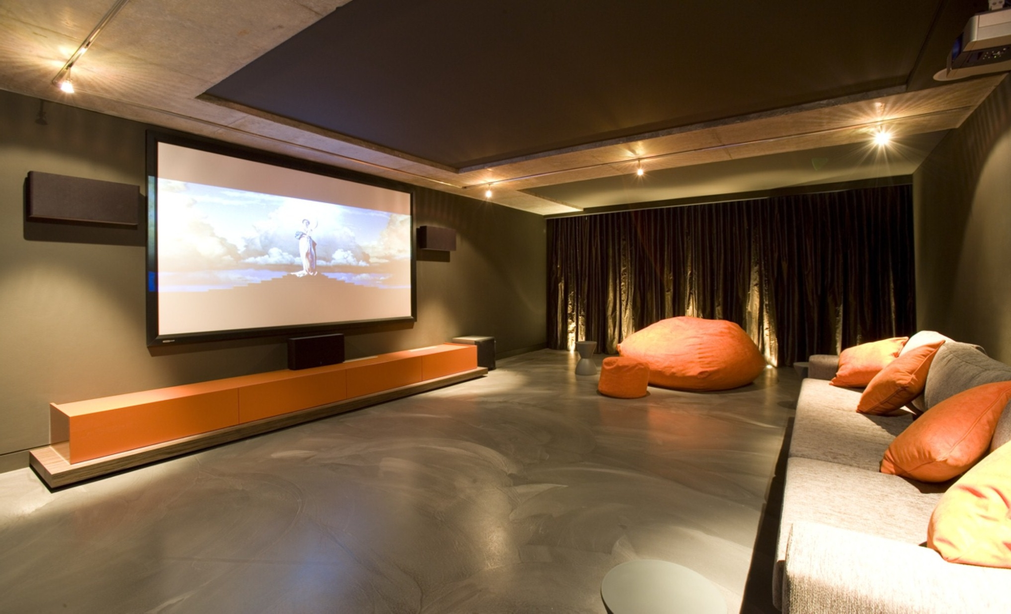Pretty Brown Theater Room With Cheerful Orange Interior Set Accent Plus Dim Lighting Decor (Image 18 of 28)
