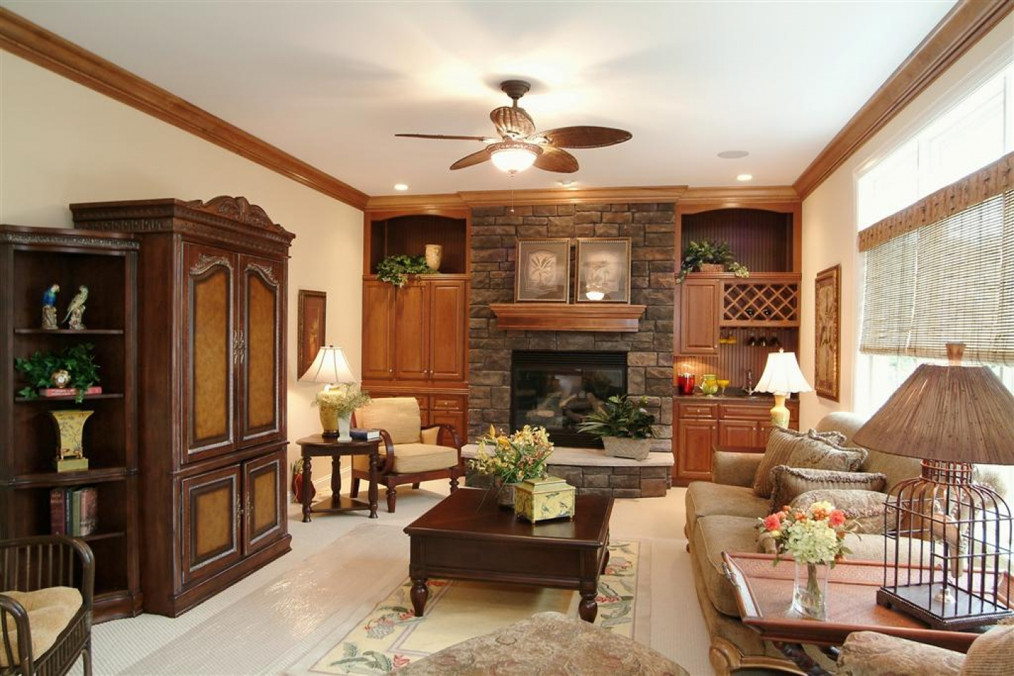 Rustic Living Room Remodel With Stone Fireplace And Classic Furniture (Image 5 of 10)