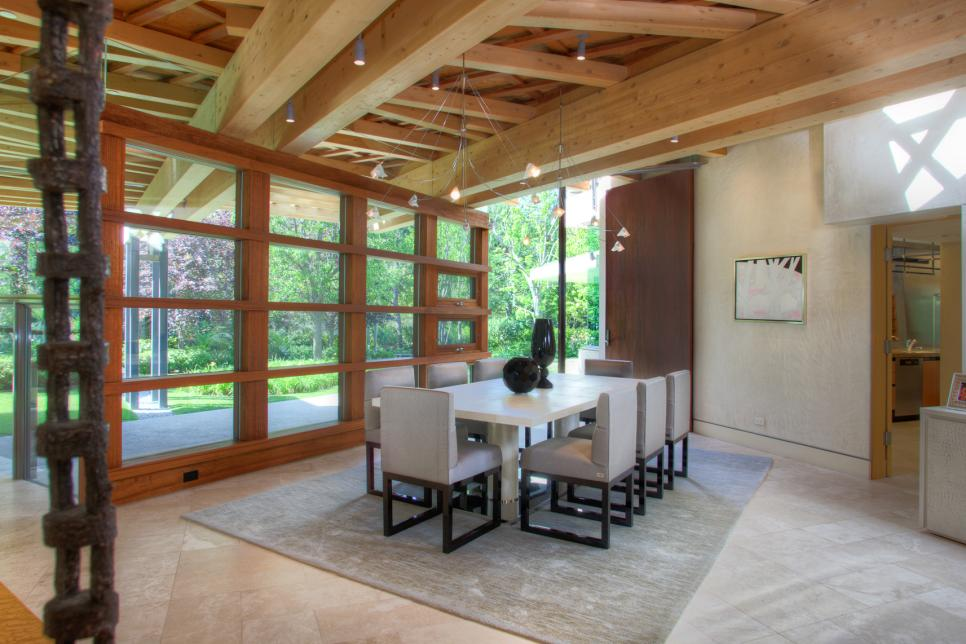 Rustic Living Room With Contemporary Furniture Combined With Wooden Windows And Wooden Ceiling (Image 7 of 10)